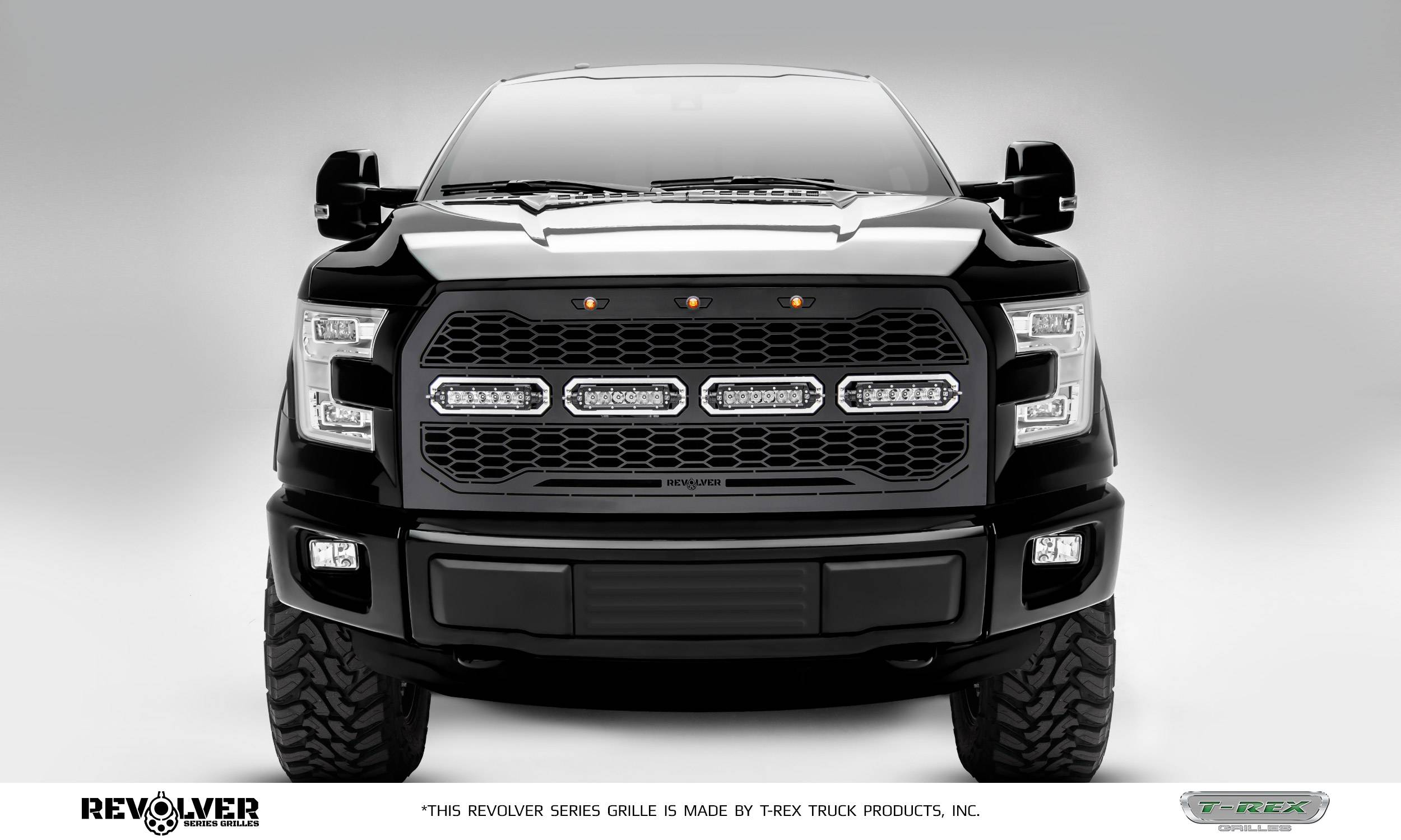 "T-REX GRILLES - 2015-2017 F-150 Revolver Grille, Black, 1 Pc, Replacement, Chrome Studs, Incl. (4) 6"" LEDs, without Forward Facing Camera - PN #6515731"