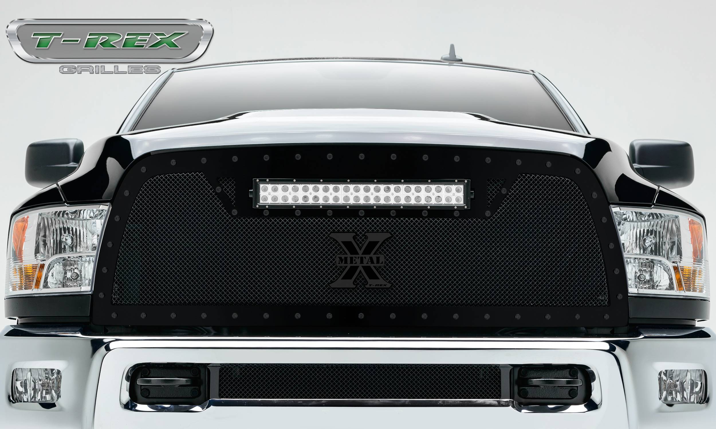 "T-REX GRILLES - 2013-2018 Ram 2500, 3500 Stealth Torch Grille, Black, 1 Pc, Replacement, Black Studs with (1) 20"" LED - PN #6314521-BR"