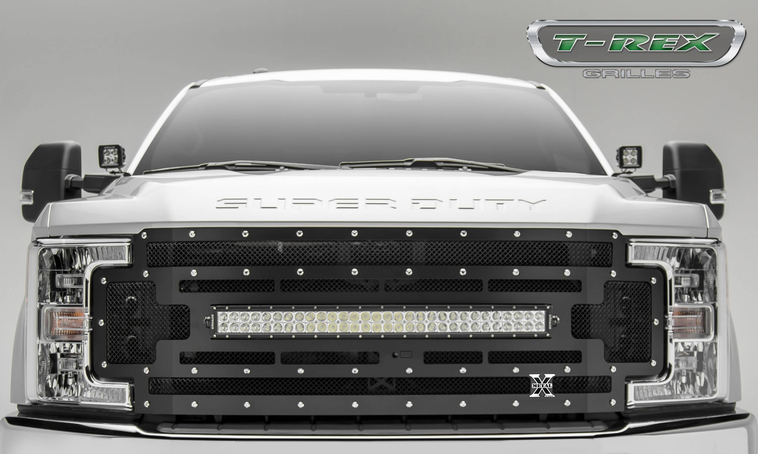 "2017-2019 Super Duty Torch Grille, Black, 1 Pc, Replacement, Chrome Studs, Incl. (1) 30"" LED, Fits Vehicles with Camera - PN #6315371"
