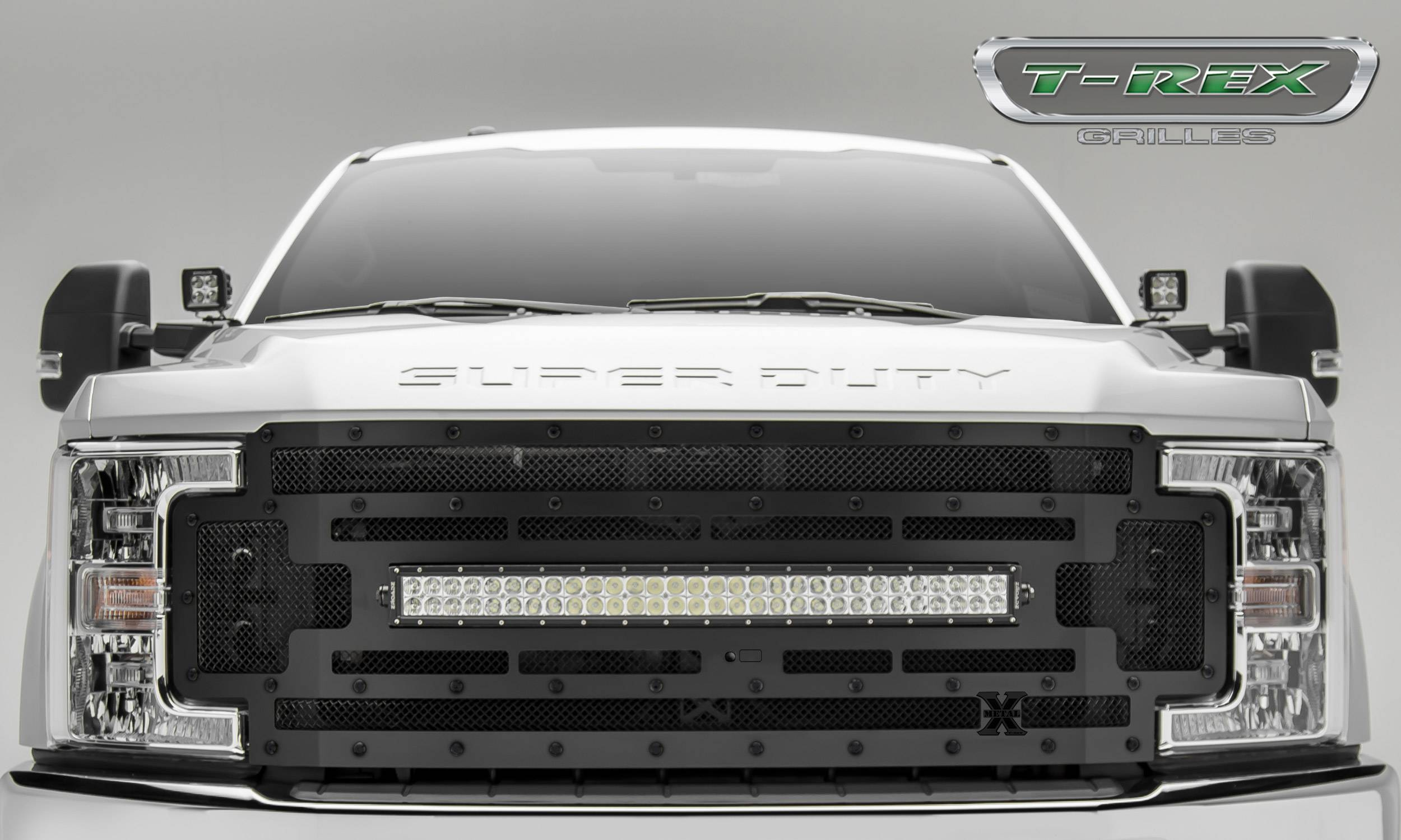 "T-REX GRILLES - 2017-2019 Super Duty Stealth Torch Grille, Black, 1 Pc, Replacement, Black Studs, Incl. (1) 30"" LED, Fits Vehicles with Camera - PN #6315371-BR"