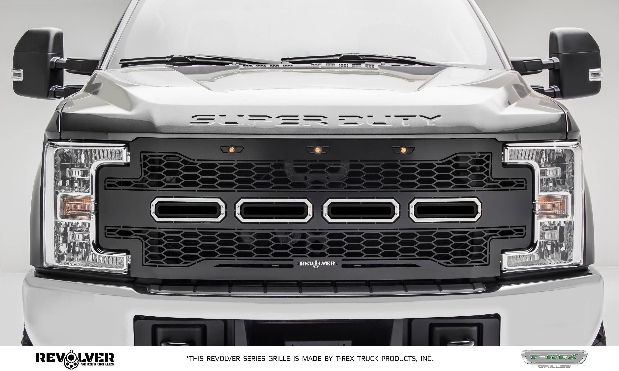 T-REX GRILLES - 2017-2019 Super Duty Revolver Grille, Black, 1 Pc, Replacement, Chrome Studs, Does Not Fit Vehicles with Camera - PN #6515711