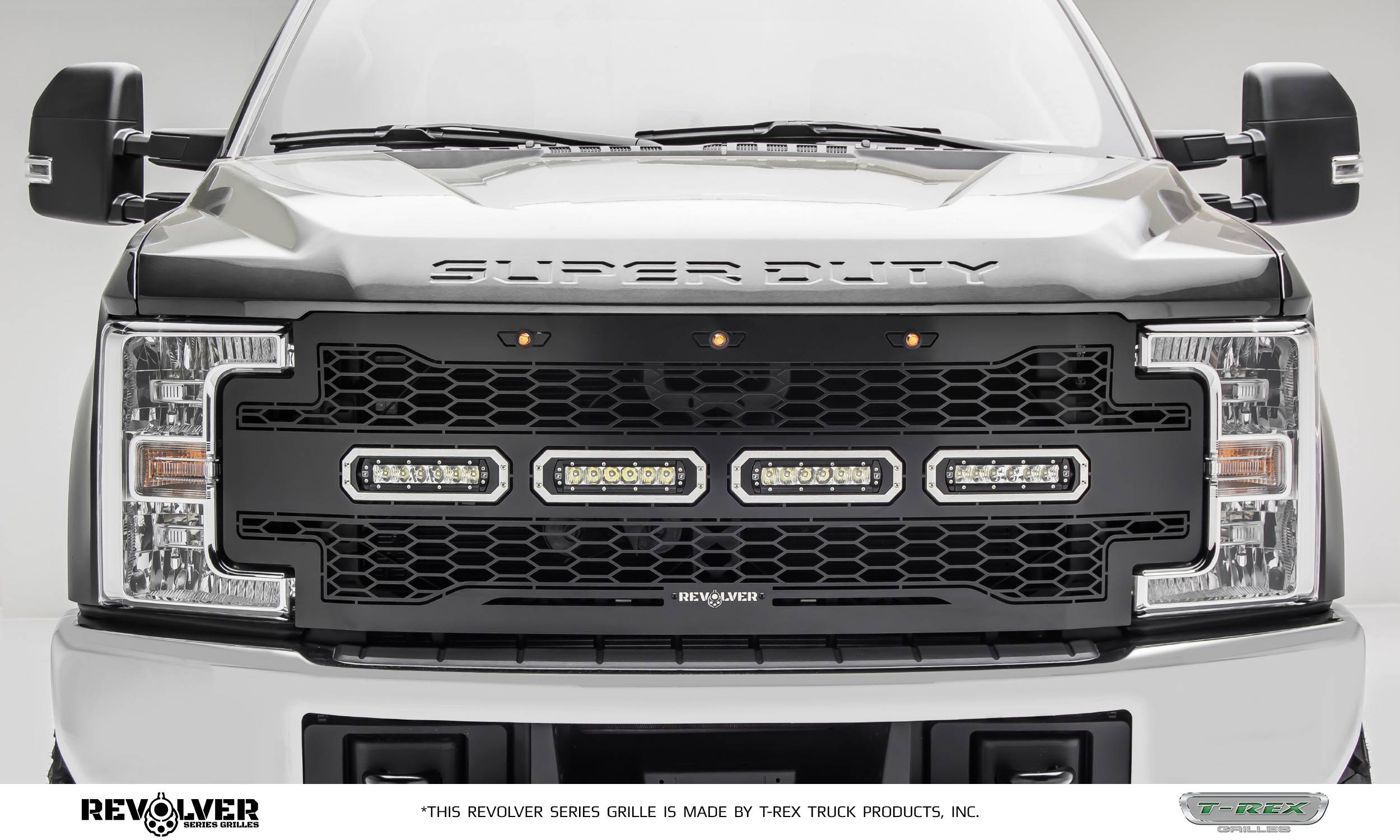 "T-REX GRILLES - 2017-2019 Super Duty Revolver Grille, Black, 1 Pc, Replacement, Chrome Studs with (4) 6"" LEDs, Does Not Fit Vehicles with Camera - PN #6515641"
