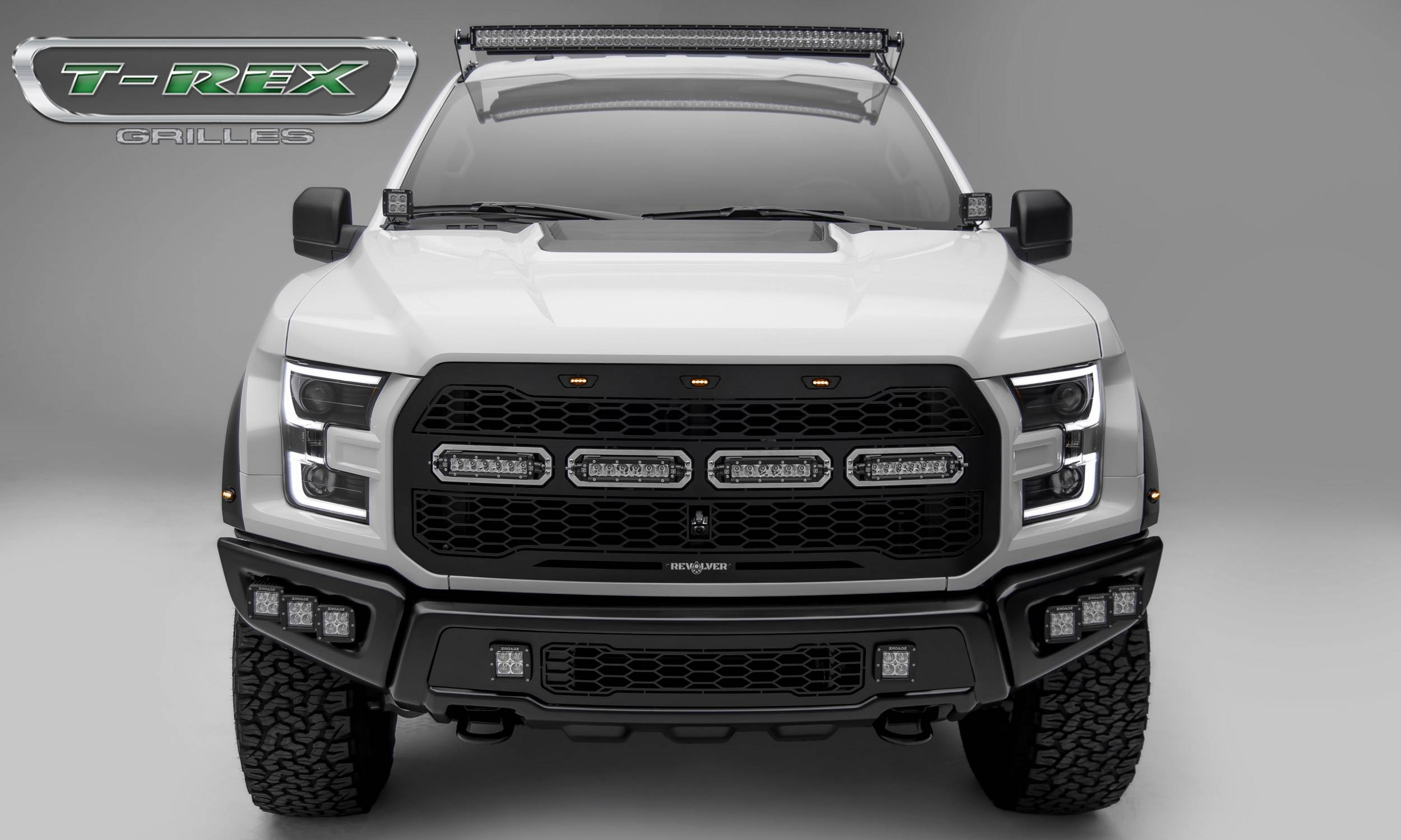 T-REX GRILLES - 2017-2021 F-150 Raptor SVT Revolver Grille, Black, 1 Pc, Replacement, Chrome Studs with (4) 6 Inch LEDs, Fits Vehicles with Camera - PN #6515671