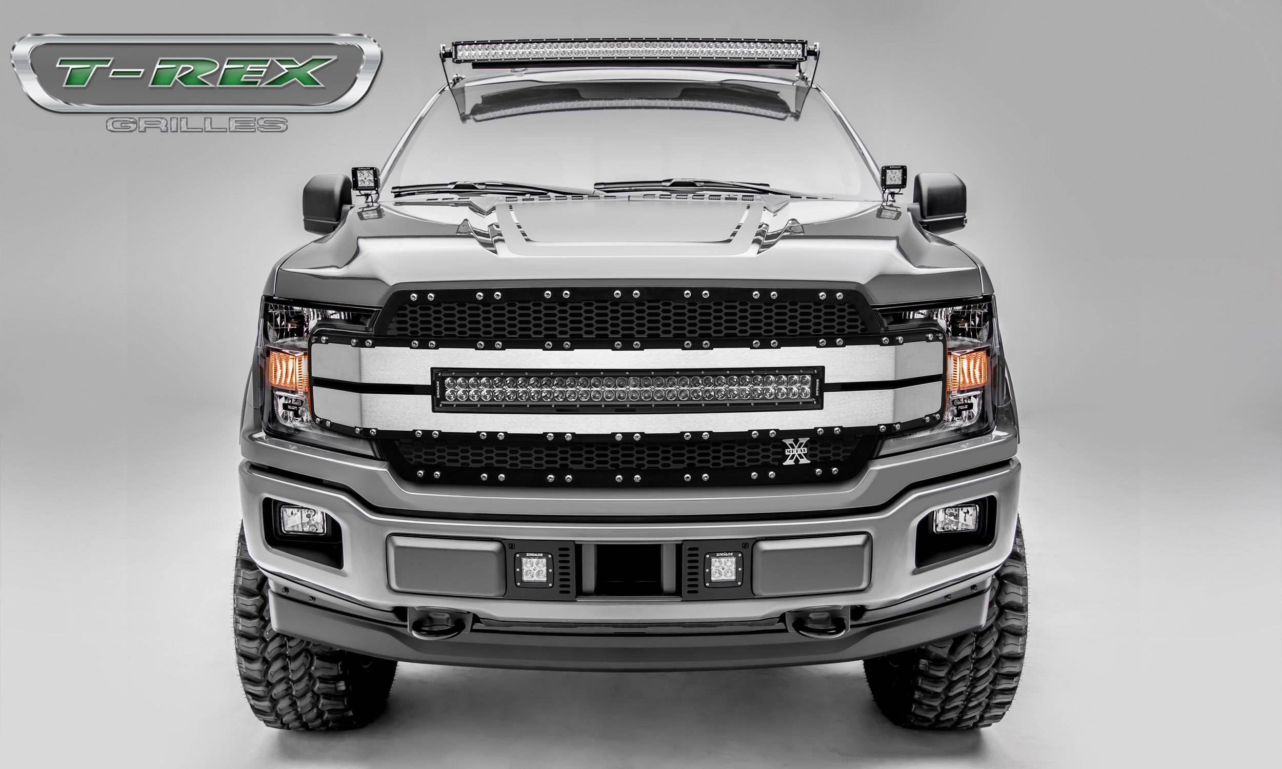 "T-REX GRILLES - 2018-2020 F-150 Torch AL Grille, Black Mesh, Brushed trim, 1 Pc, Replacement, Chrome Studs, Incl. (1) 30"" LED - PN #6315783"