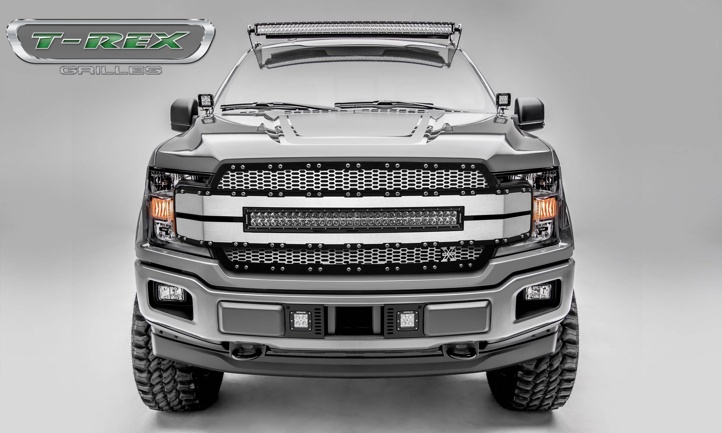 "T-REX GRILLES - 2018-2019 F-150 Torch AL Grille, Brushed Mesh and Trim, 1 Pc, Replacement, Chrome Studs, Incl. (1) 30"" LED - PN #6315785"