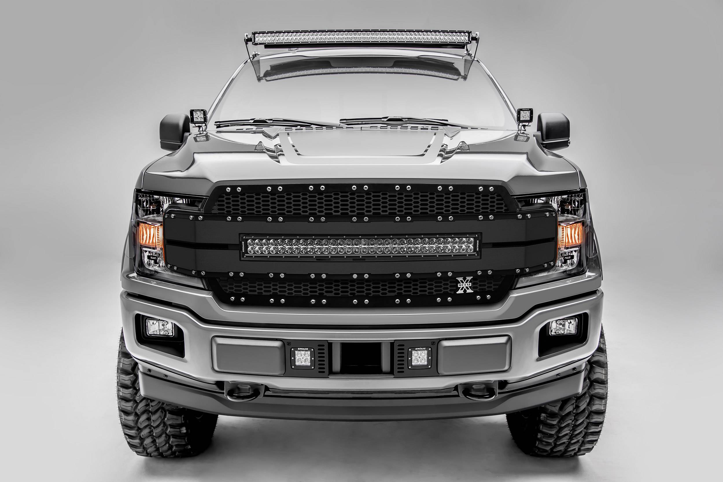 "T-REX GRILLES - 2018-2019 F-150 Torch AL Grille, Black Mesh and Trim, 1 Pc, Replacement, Chrome Studs, Incl. (1) 30"" LED, Fits Vehicles with Camera - PN #6315791"