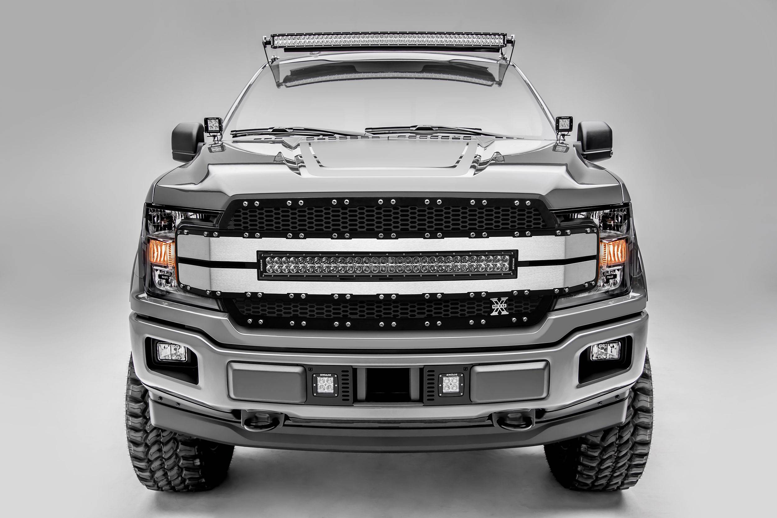"T-REX GRILLES - 2018-2020 F-150 Torch AL Grille, Black Mesh, Brushed Trim, 1 Pc, Replacement, Chrome Studs with (1) 30"" LED, Fits Vehicles with Camera - PN #6315793"