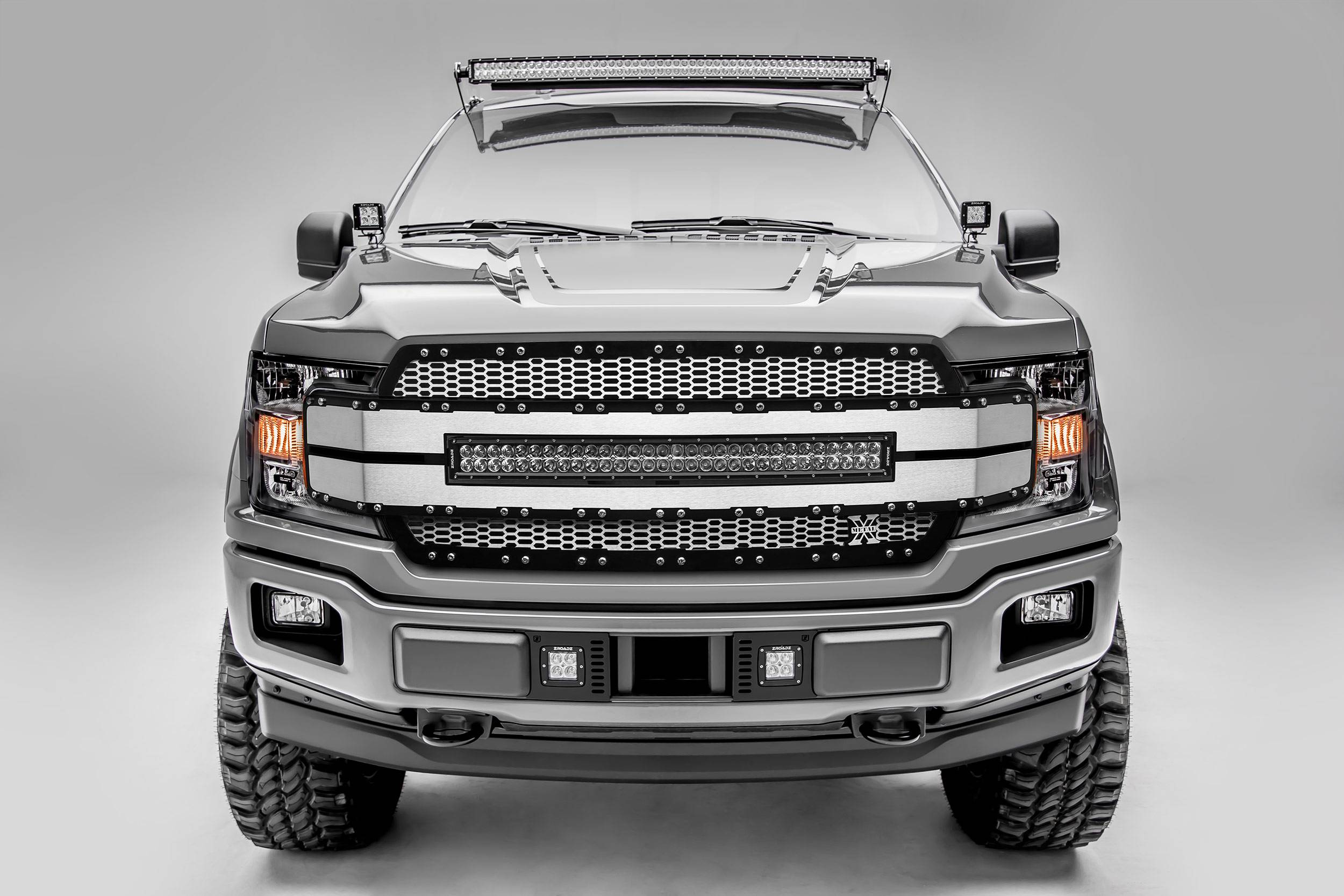 T-REX GRILLES - 2018-2020 F-150 Torch AL Grille, Brushed Mesh and Trim, 1 Pc, Replacement, Chrome Studs with 30 Inch LED, Fits Vehicles with Camera - PN #6315795