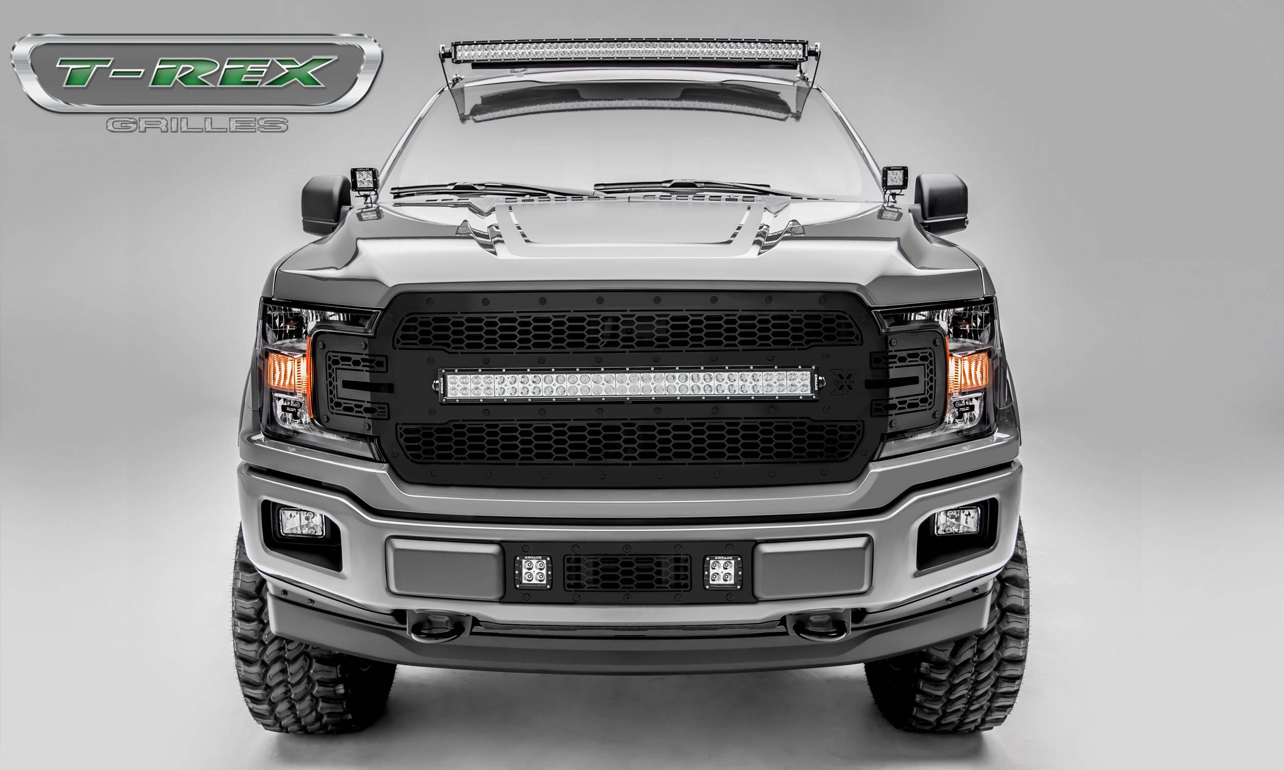 T-REX GRILLES - 2018-2020 F-150 Stealth Laser Torch Grille, Black, 1 Pc, Replacement, Black Studs with 30 Inch LED, Does Not Fit Vehicles with Camera - PN #7315711-BR