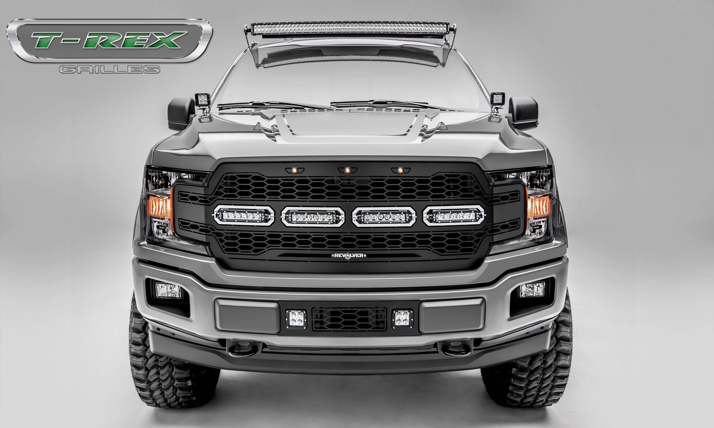 "T-REX GRILLES - 2018-2019 F-150 Revolver Grille, Black, 1 Pc, Replacement, Chrome Studs, Incl. (4) 6"" LEDs - PN #6515841"