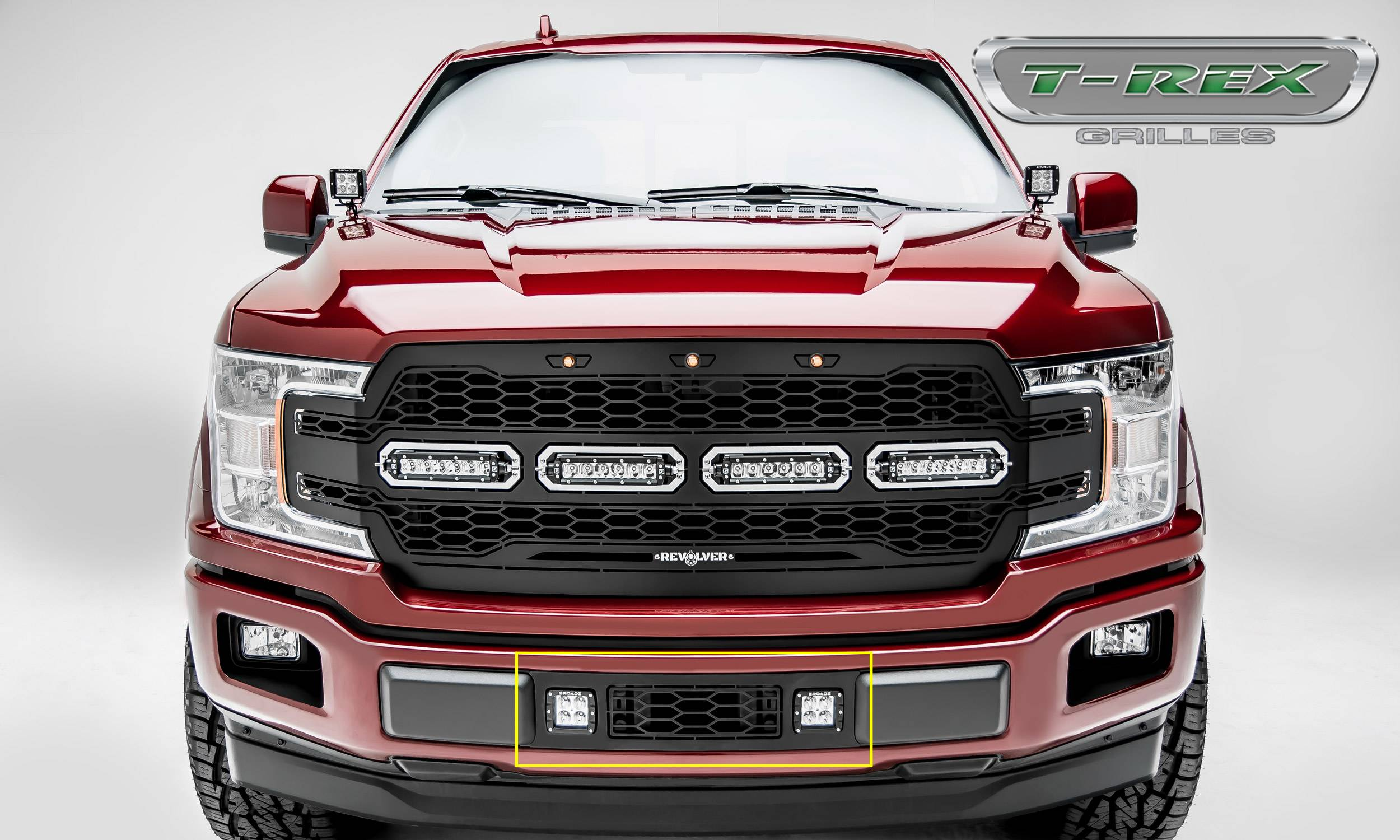 "2018-2019 F-150 Limited, Lariat Revolver Bumper Grille, Black, 1 Pc, Overlay, Chrome Studs, Incl. (2) 3"" LED Cube Lights - PN #6525751"