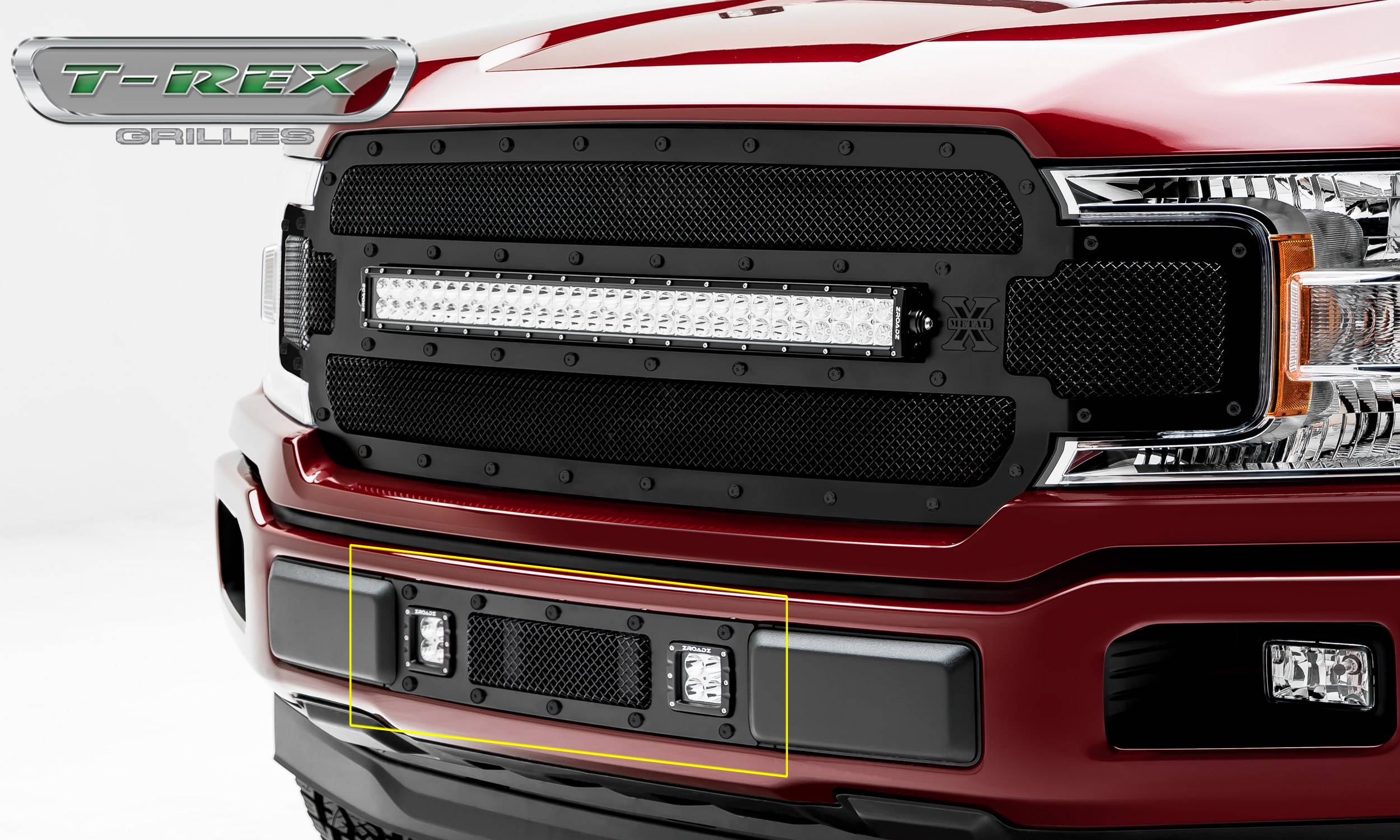 "T-REX GRILLES - 2018-2020 F-150 Limited, Lariat Stealth Torch Bumper Grille, Black, 1 Pc, Replacement, Black Studs, Incl. (2) 3"" LED Cube Lights - PN #6325791-BR"
