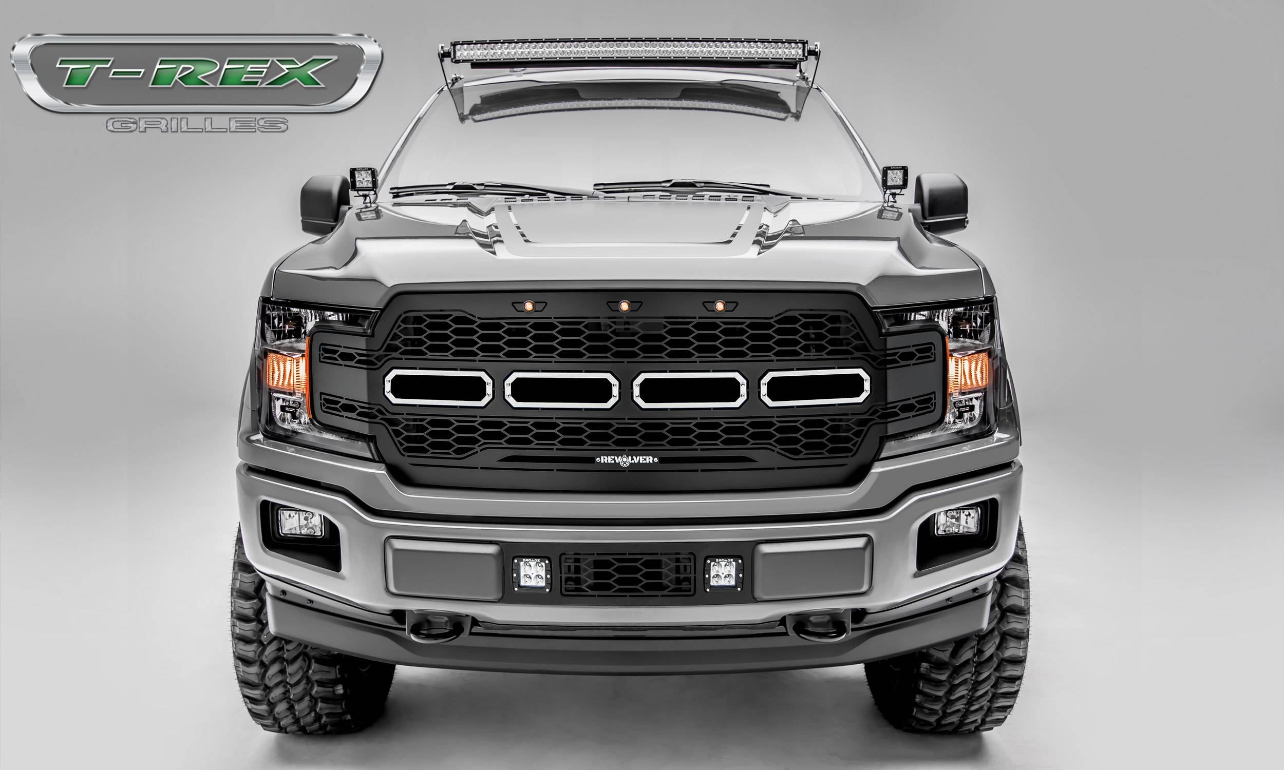T-REX GRILLES - 2018-2020 F-150 Revolver Grille, Black, 1 Pc, Replacement, Chrome Studs - PN #6515851