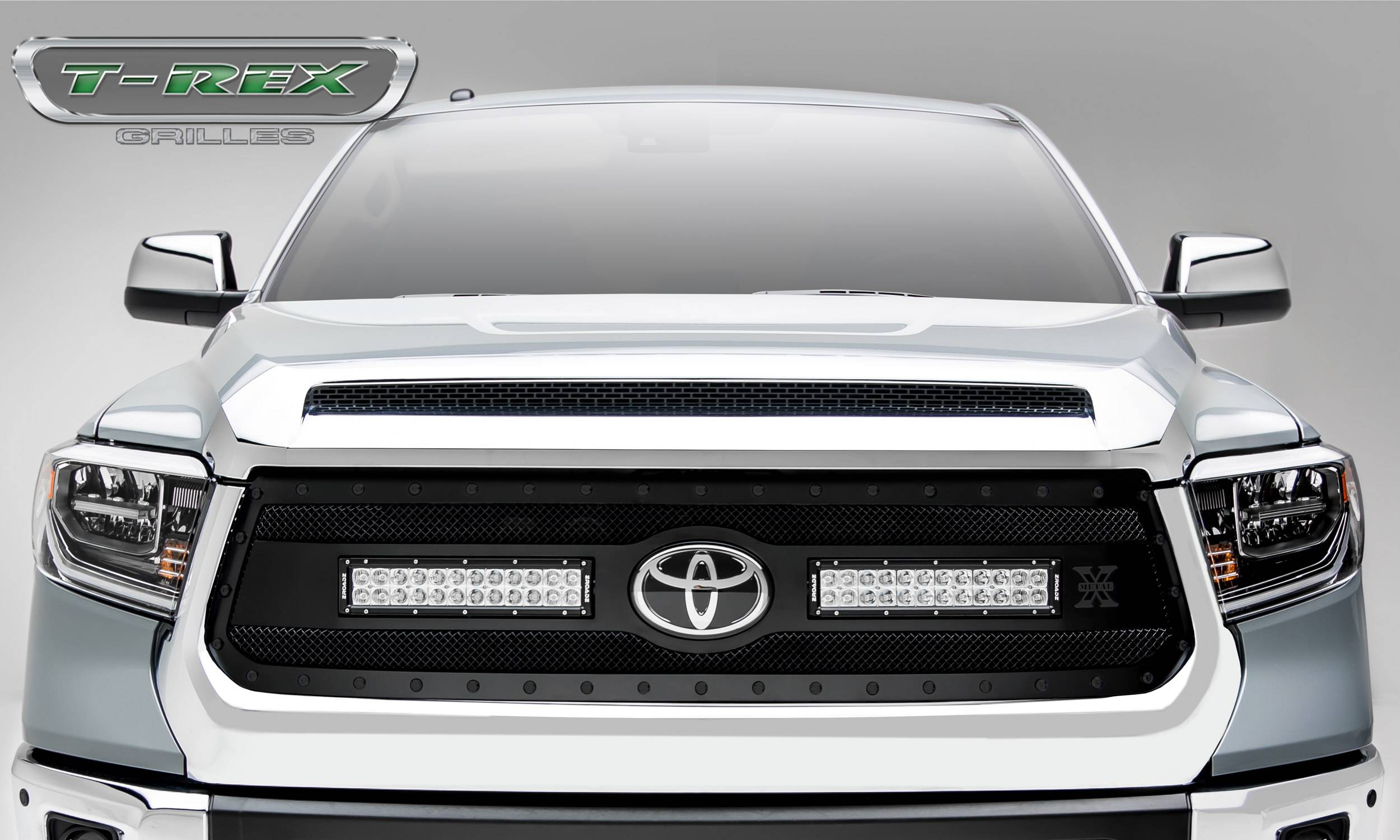 """T-REX GRILLES - 2018-2019 Tundra Stealth Torch Grille, Black, 1 Pc, Replacement, Black Studs, Incl. (2) 12"""" LEDs - PN #6319661-BR"""