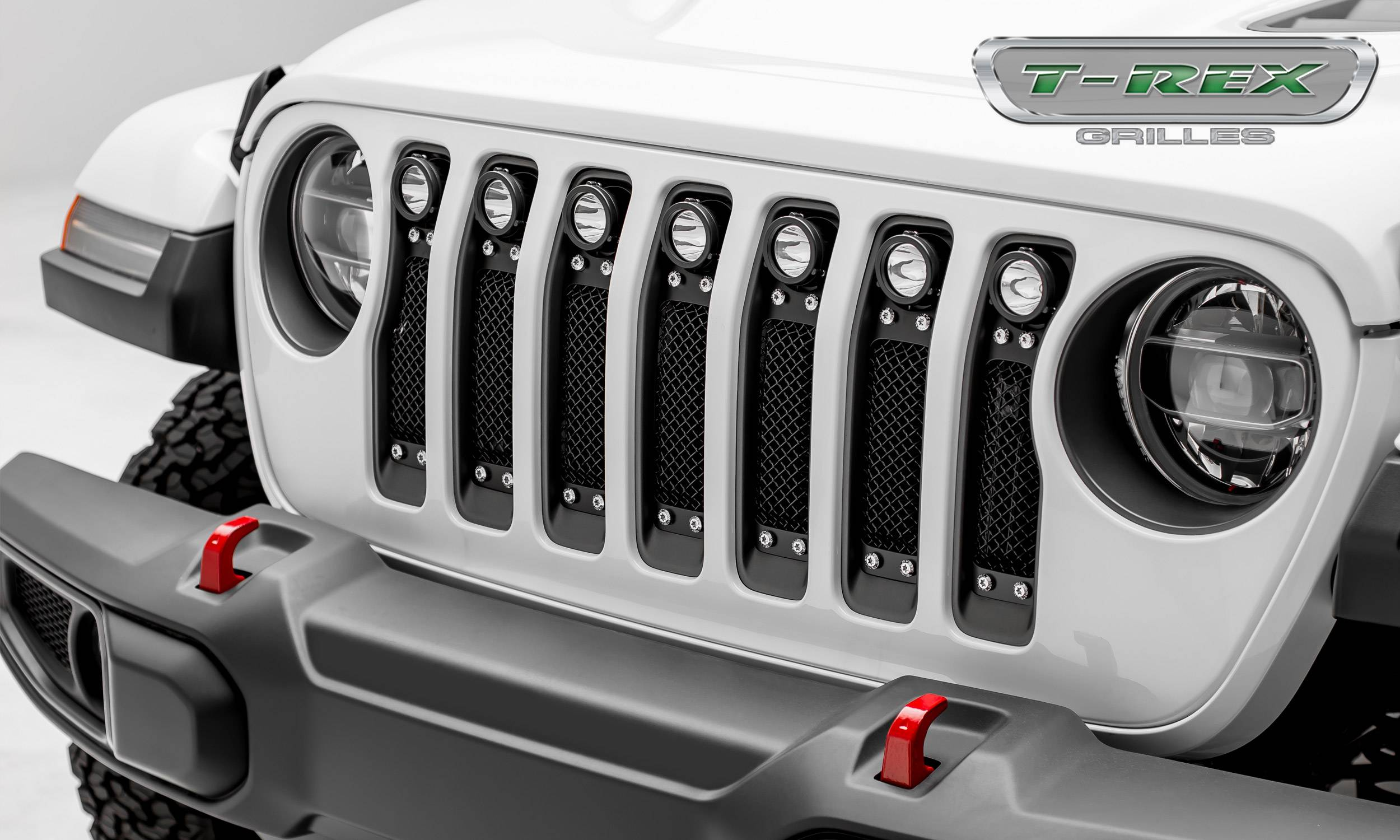 "T-REX GRILLES - Jeep Gladiator, JL Torch Grille, Black, 1 Pc, Insert, Chrome Studs, Incl. (7) 2"" LED Round Lights, without Forward Facing Camera - PN #6314931"