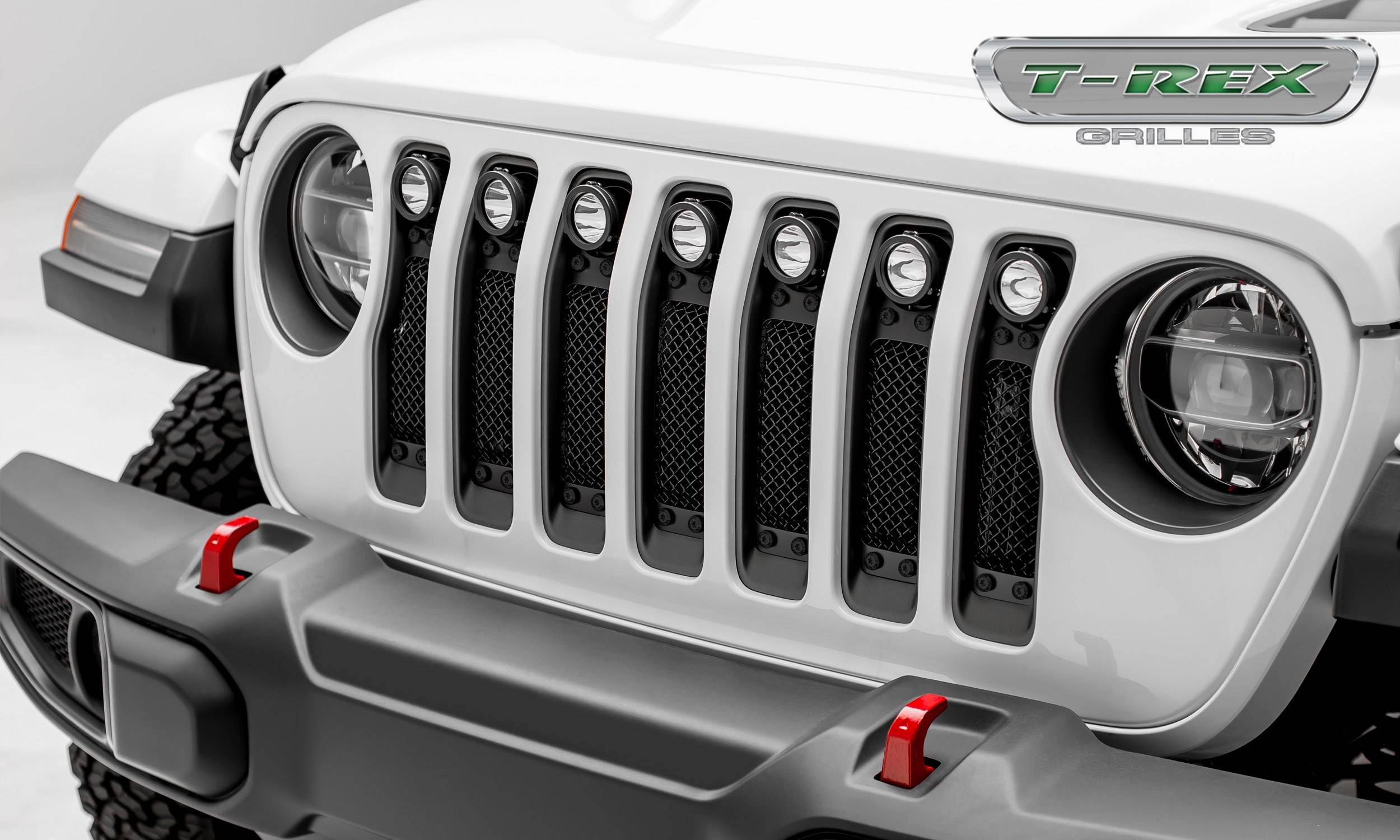 T-REX GRILLES - Jeep Gladiator, JL Stealth Torch Grille, Black, 1 Pc, Insert, Black Studs with (7) 2 Inch LED Round Lights, Does Not Fit Vehicles with Camera - PN #6314931-BR