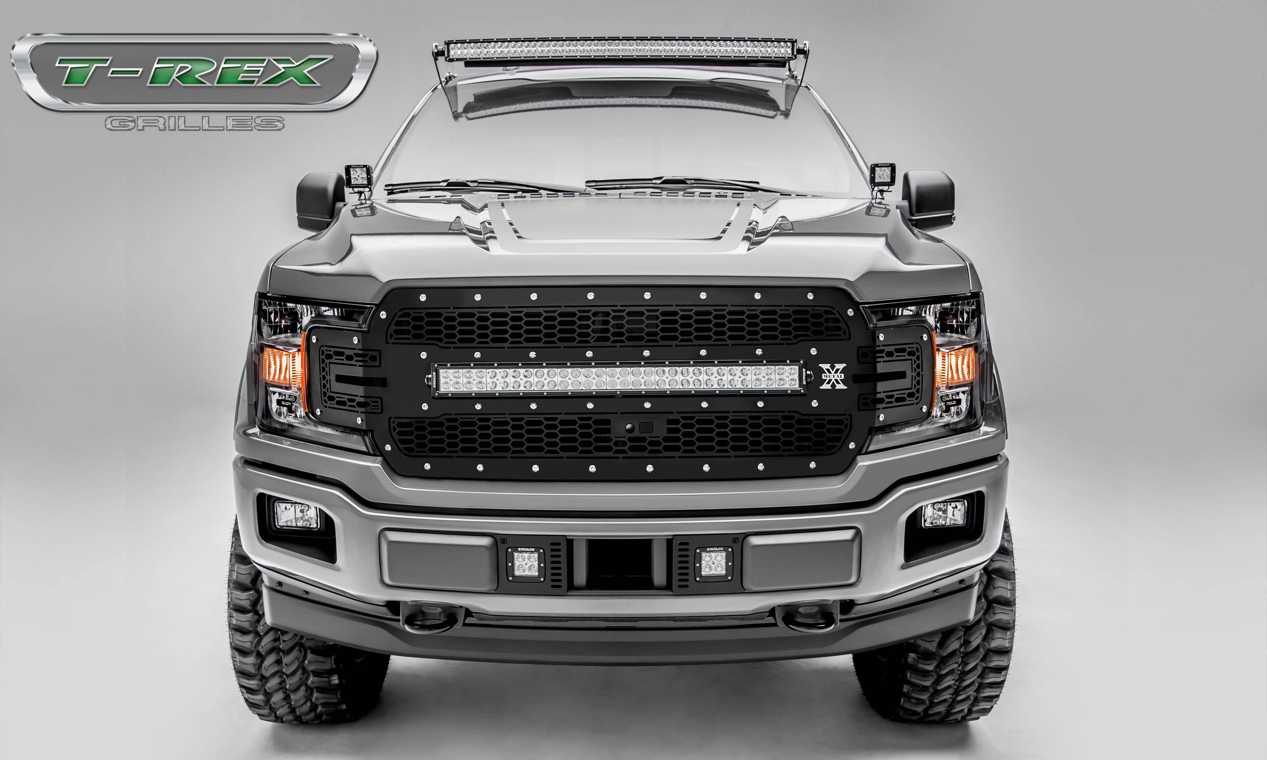 "T-REX GRILLES - 2018-2019 F-150 Laser Torch Grille, Black, 1 Pc, Replacement, Chrome Studs, Incl. (1) 30"" LED, Fits Vehicles with Camera - PN #7315751"