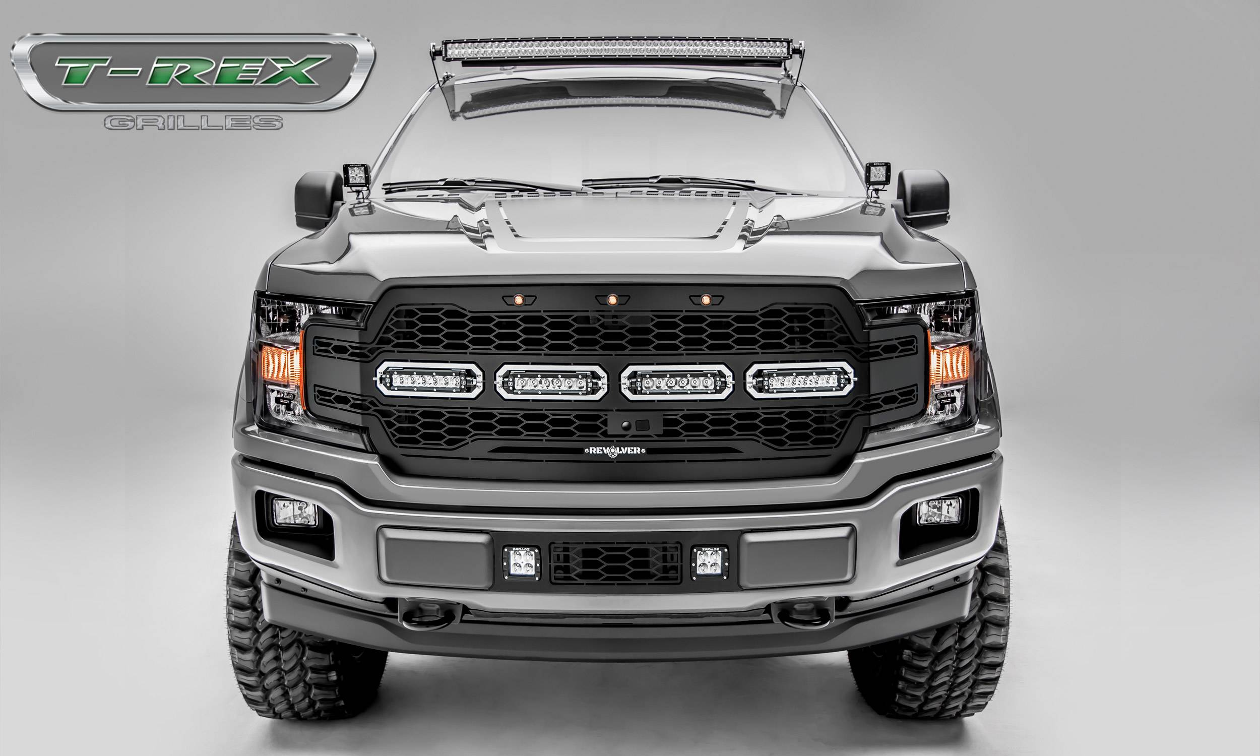 "T-REX GRILLES - 2018-2020 F-150 Revolver Grille, Black, 1 Pc, Replacement, Chrome Studs with (4) 6"" LEDs, Fits Vehicles with Camera - PN #6515791"