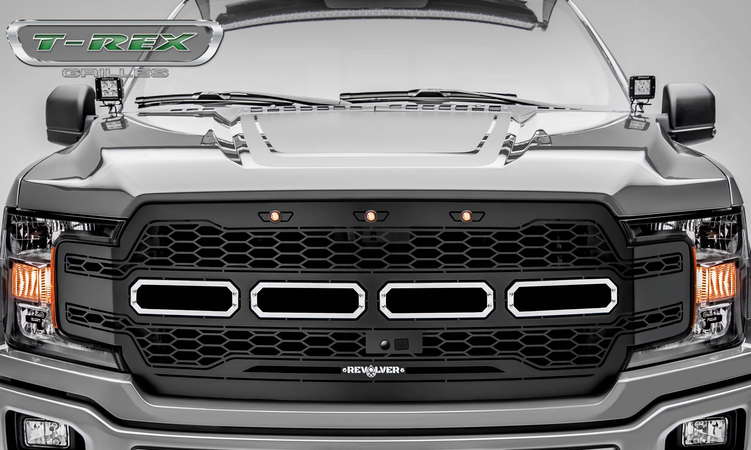 2018 2020 F 150 Revolver Grille Black 1 Pc Replacement Chrome Studs Fits Vehicles With Camera Pn 6515781
