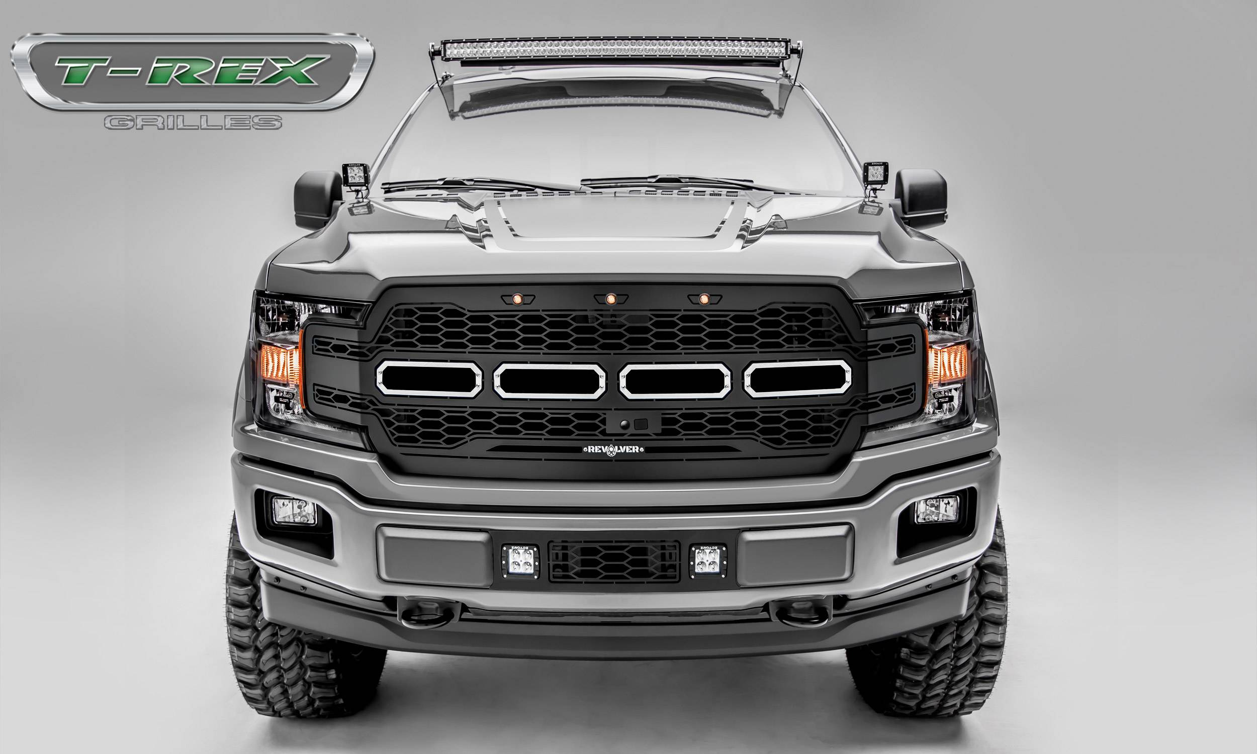T-REX GRILLES - 2018-2020 F-150 Revolver Grille, Black, 1 Pc, Replacement Fits Vehicles with Camera - PN #6515781