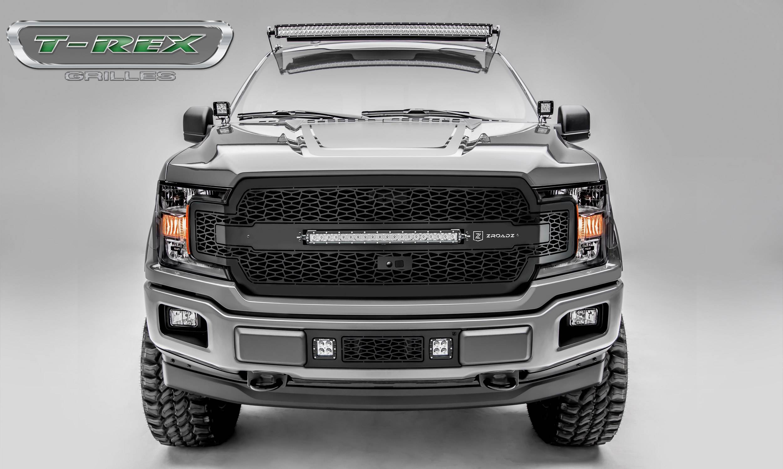 T-REX GRILLES - 2018-2020 F-150 ZROADZ Grille, Black, 1 Pc, Replacement, Incl. 20 Inch LED, Fits Vehicles with Camera - PN #Z315811