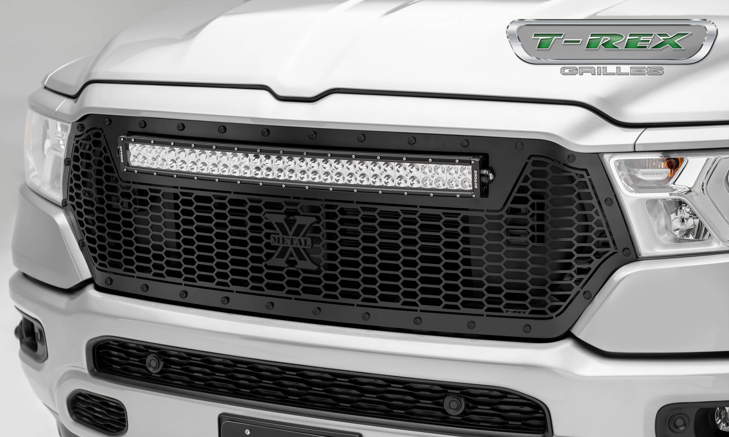 "2019 Ram 1500 Laramie, Lone Star, Big Horn, Tradesman Stealth Laser Torch Grille, Black, 1 Pc, Replacement, Black Studs, Incl. (1) 30"" LED - PN #7314651-BR"