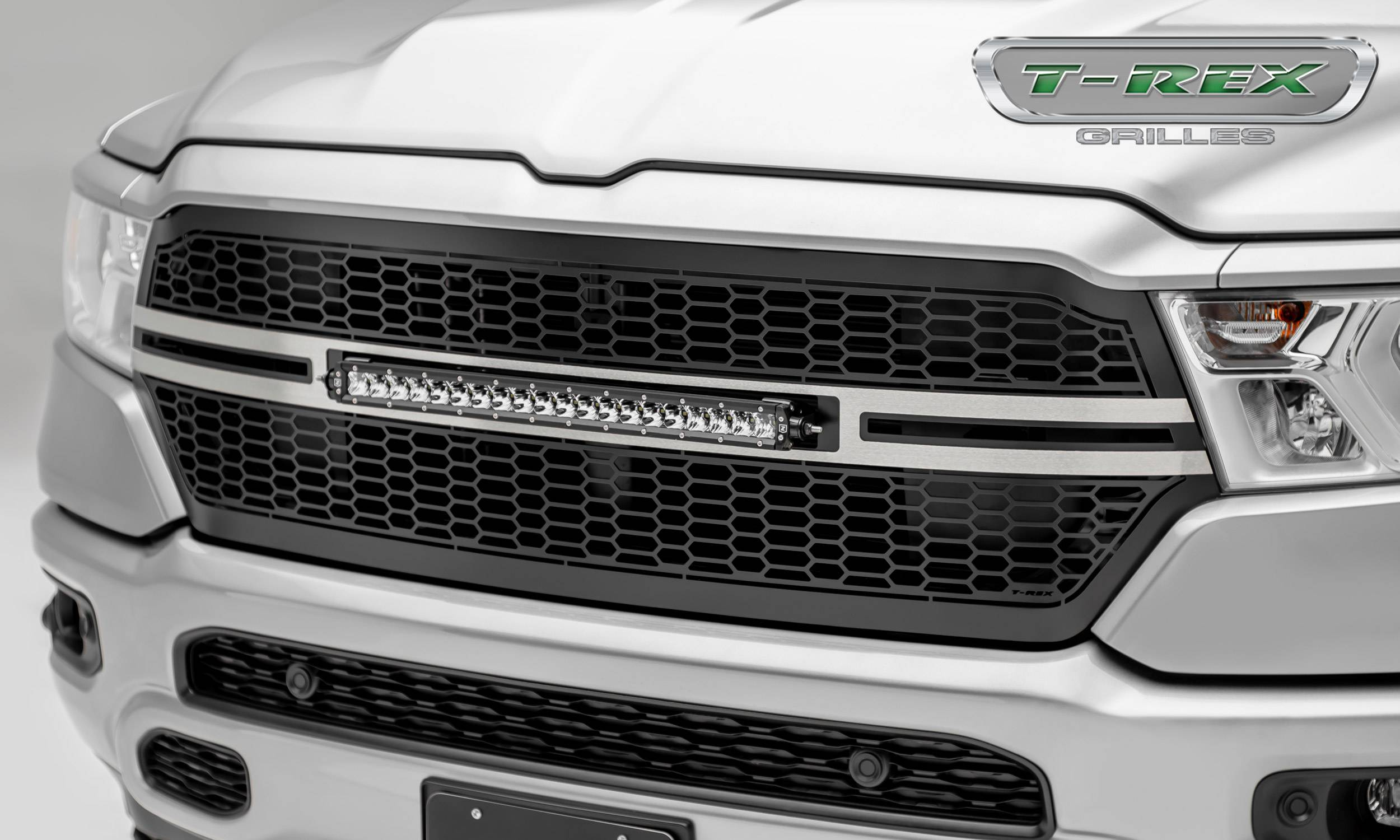"""2019 Ram 1500 Laramie, Lone Star, Big Horn, Tradesman Laser Torch Grille, Black, Brushed, 1 Pc, Replacement, Incl. (1) 20"""" LED - PN #7314651-T"""