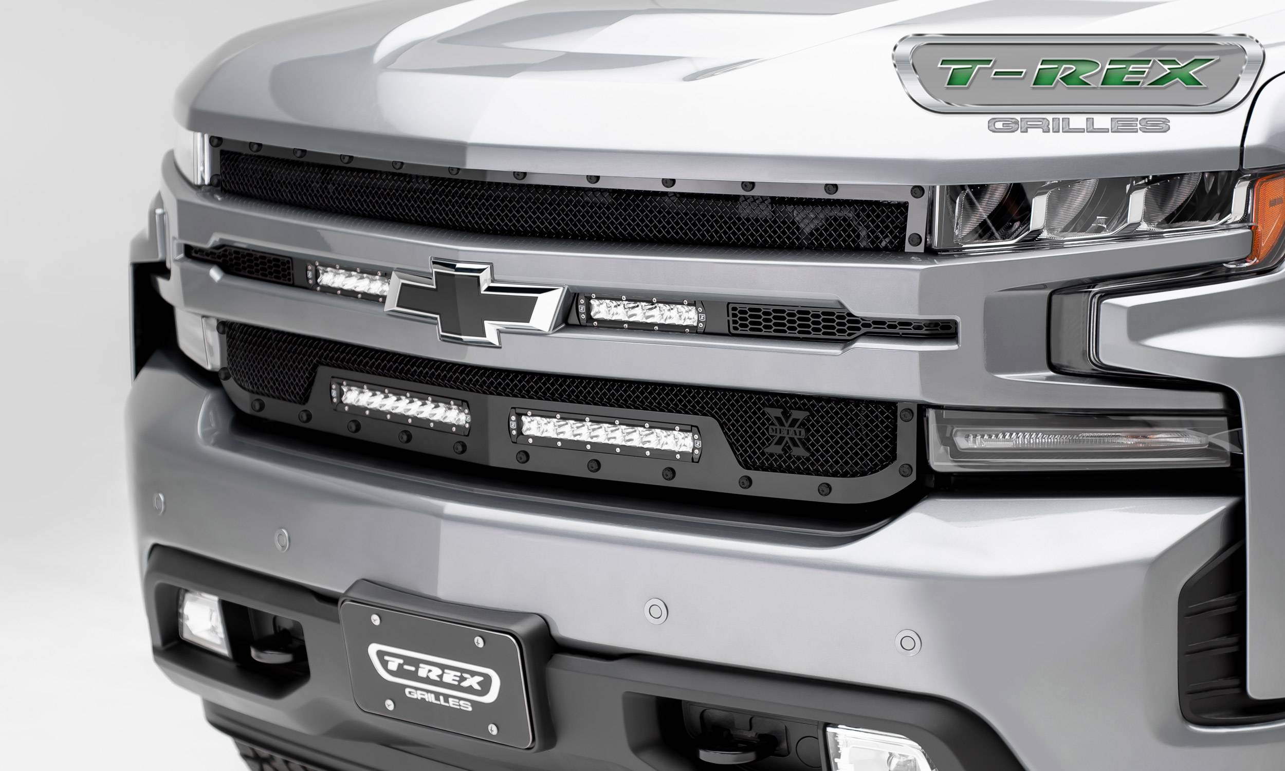 "T-REX GRILLES - 2019-2021 Silverado 1500 Stealth Torch Grille, Black, 1 Pc, Replacement, Black Studs with (2) 6"" and (2) 10"" LEDs - PN #6311261-BR"