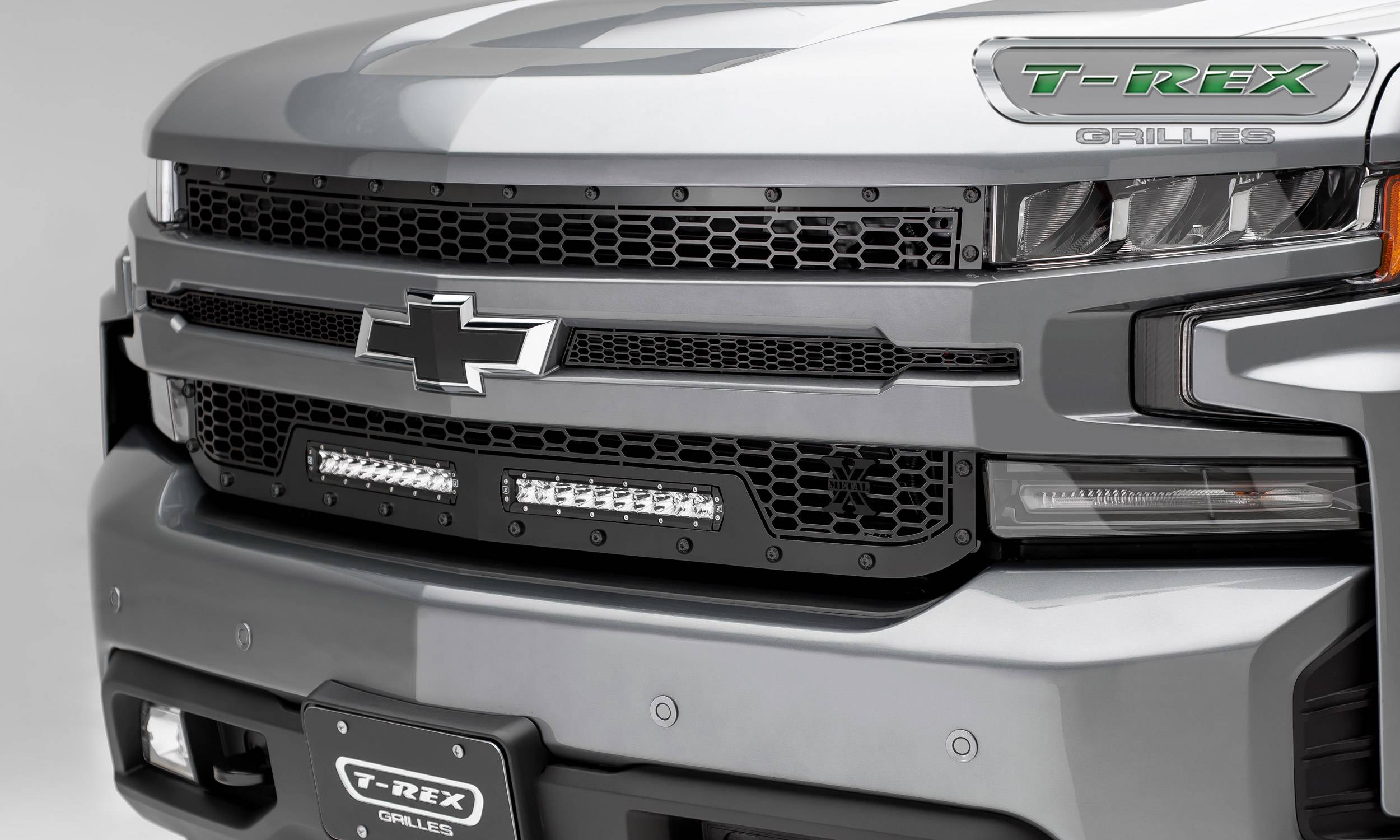 "T-REX GRILLES - 2019-2020 Silverado 1500 Stealth Laser Torch Grille, Black, 1 Pc, Replacement, Black Studs, Incl. (2) 10"" LEDs - PN #7311261-BR"