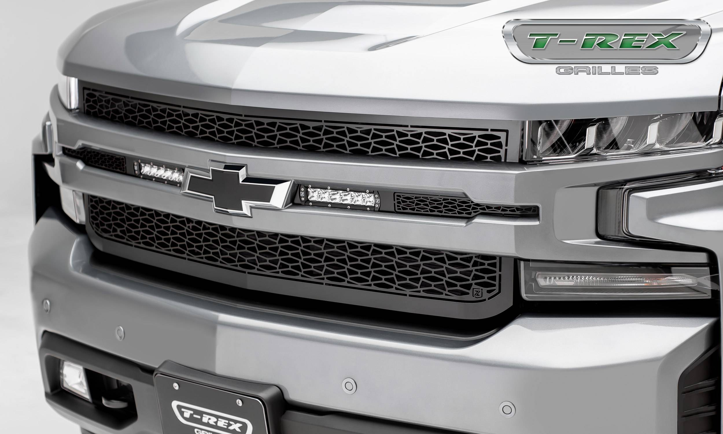 "T-REX GRILLES - 2019-2020 Silverado 1500 ZROADZ Grille, Black, 1 Pc, Replacement, Incl. (2) 6"" LEDs - PN #Z311261"