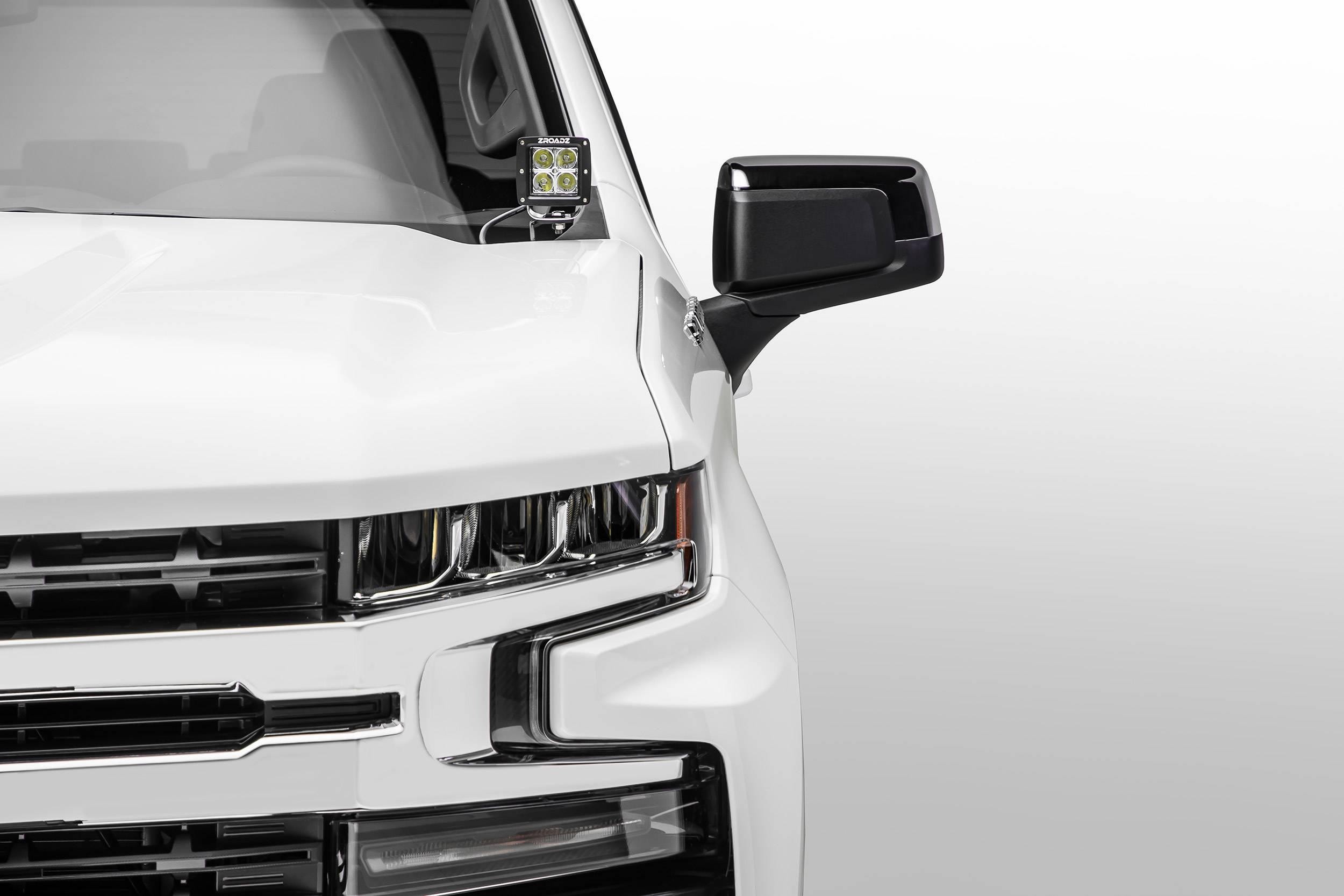 2019 Chevrolet Silverado 1500 Hood Hinge LED Kit  Incl. (2) 3 Inch LED Pod Lights - PN #Z362181-KIT2