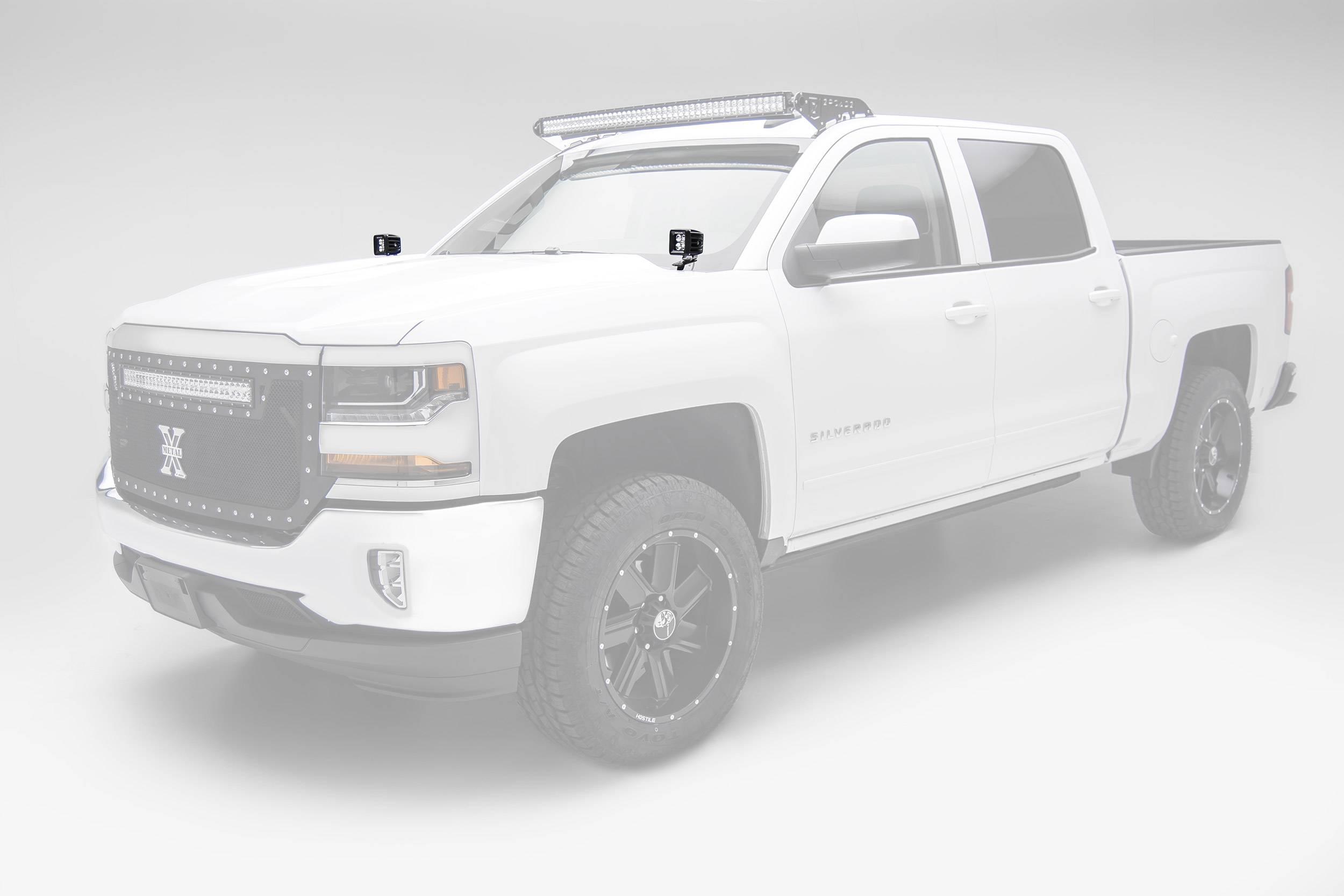 ZROADZ                                             - 2014-2018 Silverado, Sierra 1500 Hood Hinge LED Bracket to mount (2) 3 Inch LED Pod Lights - PN #Z362081