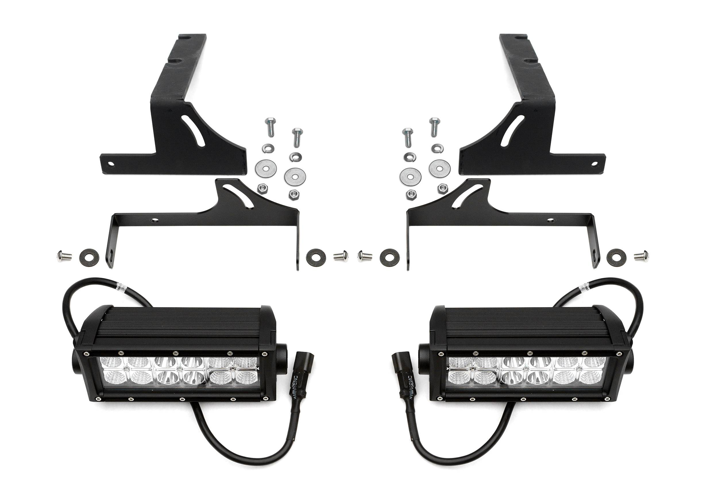 Silverado, Sierra Rear Bumper LED Kit  Incl. (2) 6 Inch LED Straight Double Row Light Bars - PN #Z382051-KIT