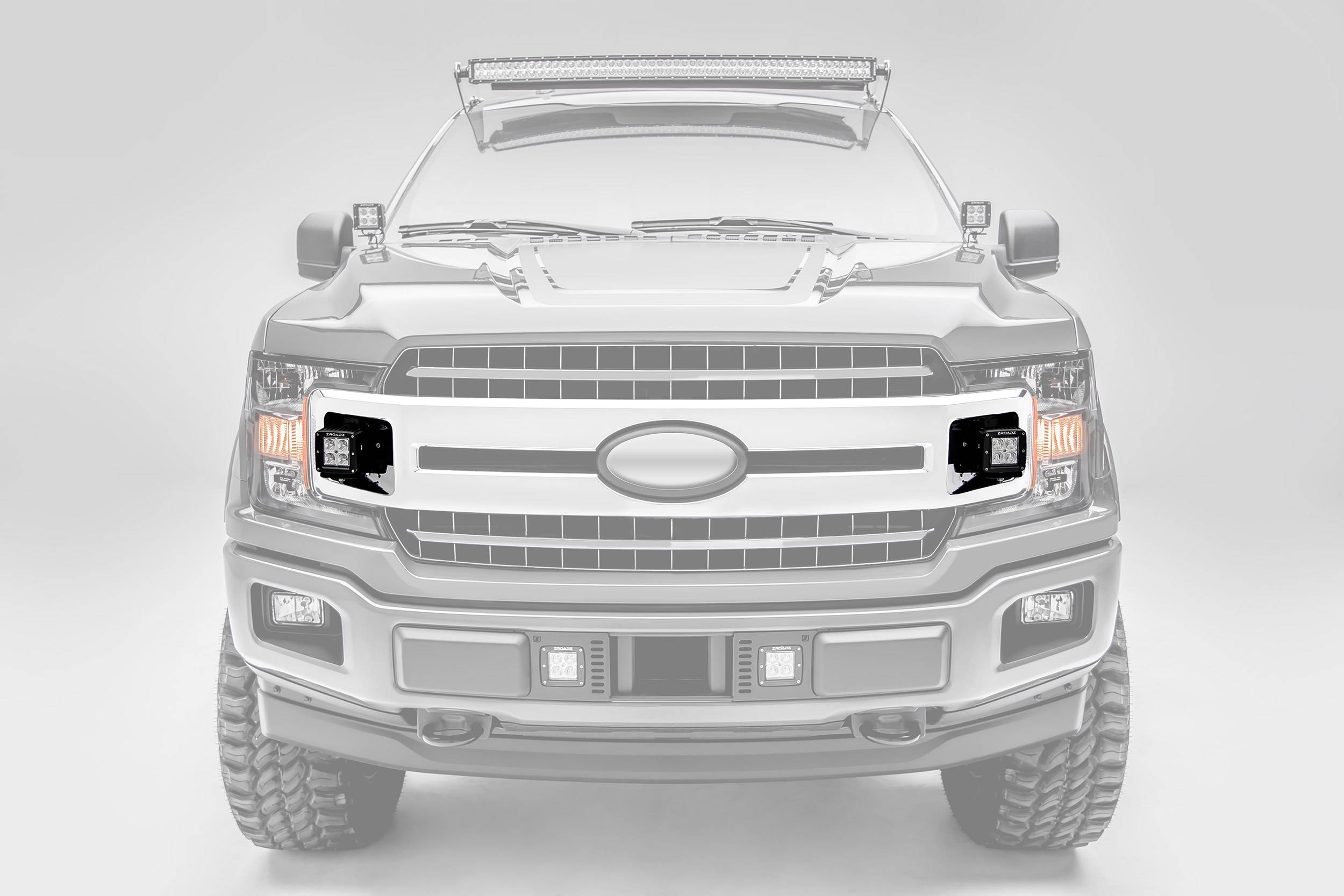 ZROADZ                                             - 2018-2020 Ford F-150 XLT, Sport, Super Crew OEM Grille LED Kit with (2) 3 Inch LED Pod Lights - PN# Z415751-KIT