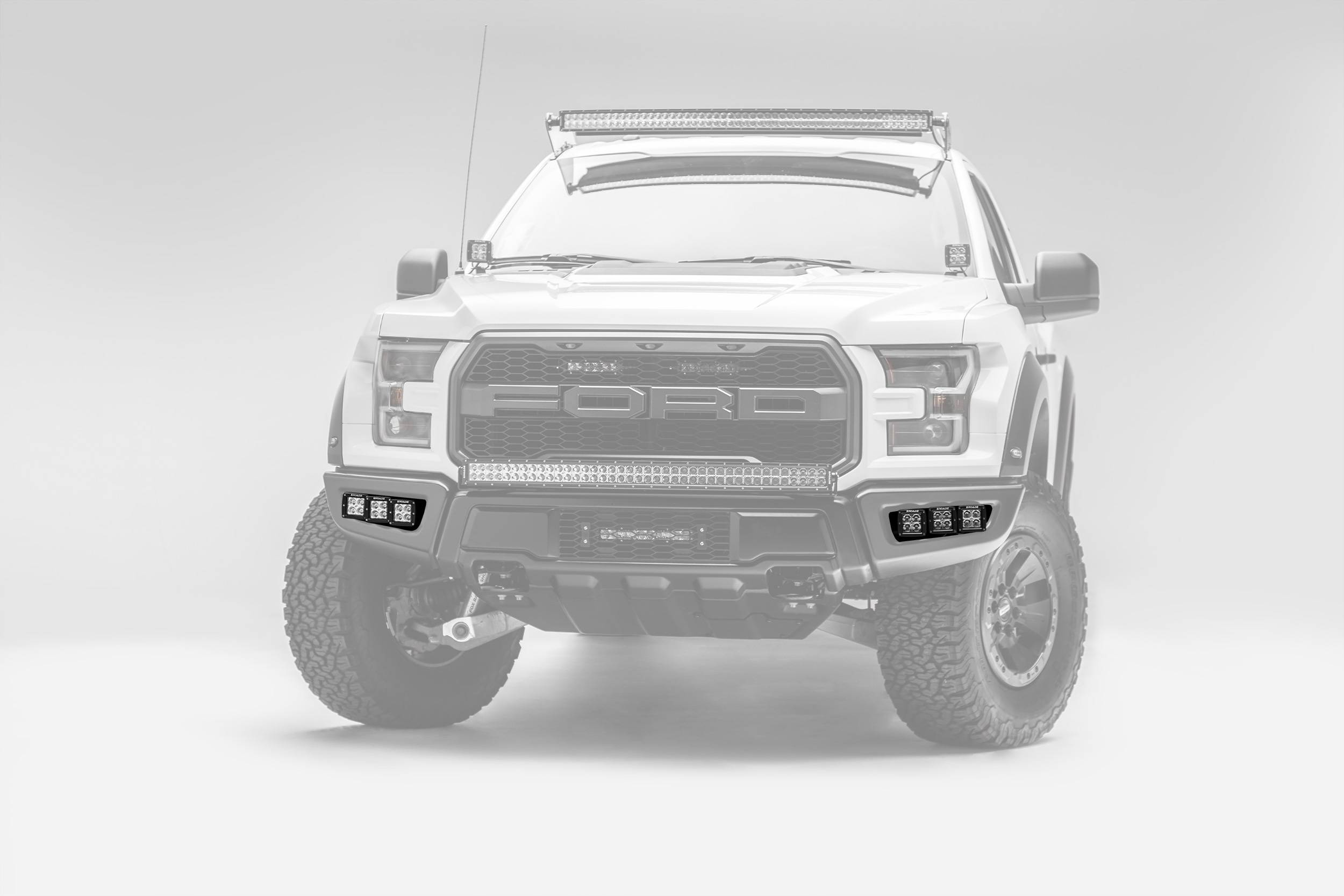 2017-2019 Ford F-150 Raptor Front Bumper OEM Fog LED Kit, Incl. (6) 3 Inch LED Pod Lights - PN #Z325652-KIT