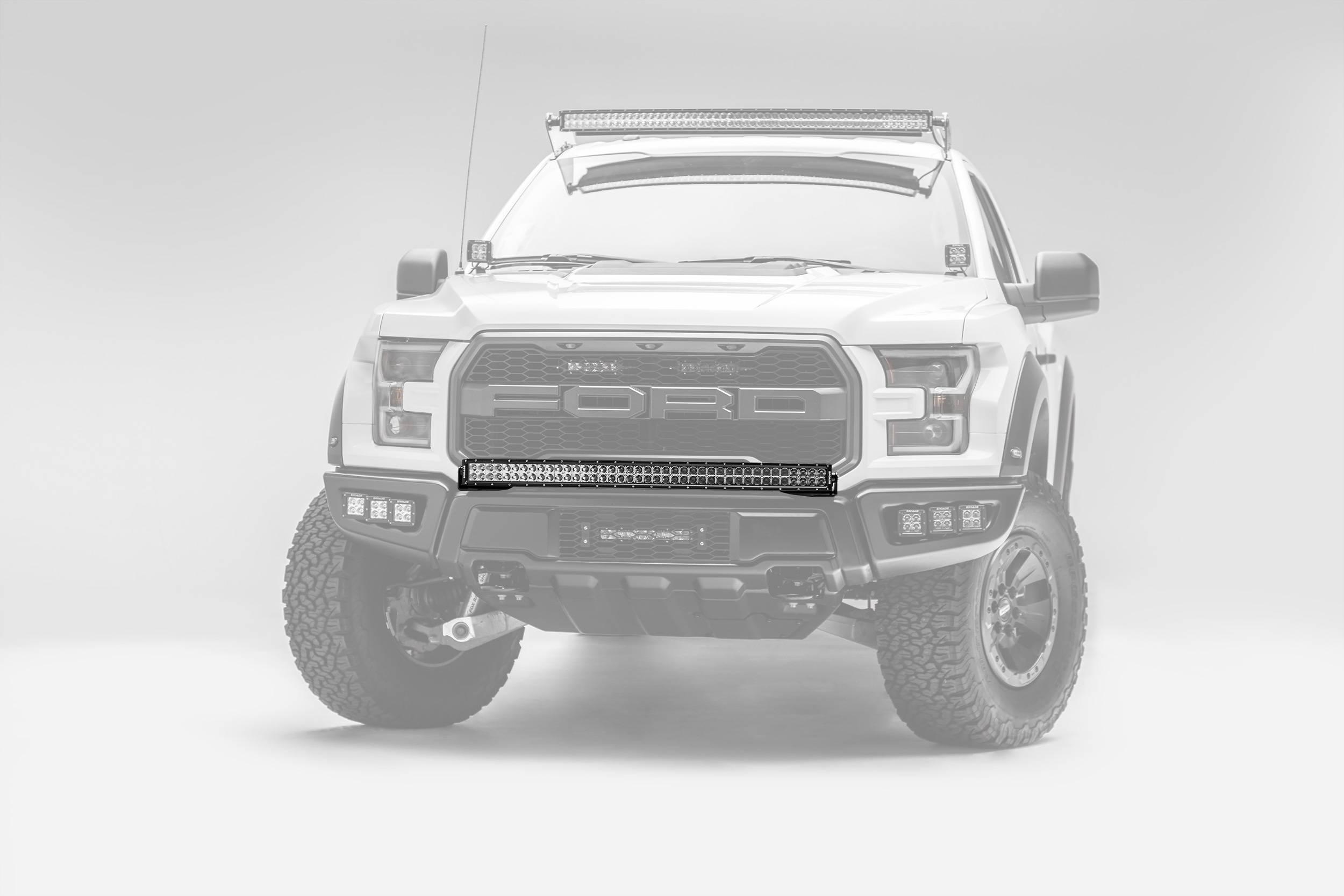 2017-2019 Ford F-150 Raptor Front Bumper Top LED Bracket to mount (1) 40 Inch Curved LED Light Bar - PN #Z325662