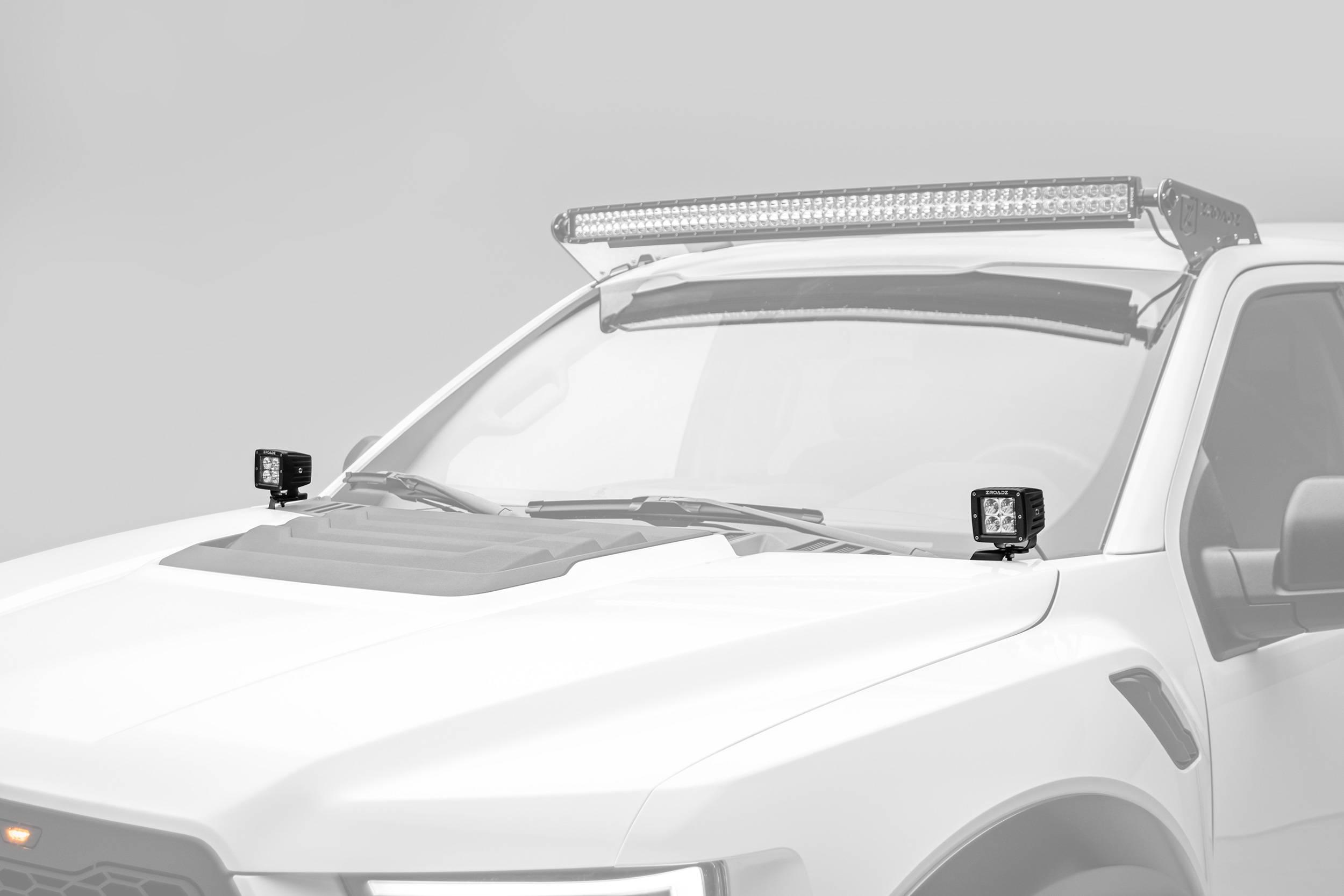 ZROADZ                                             - 2017-2019 Ford F-150 Raptor Hood Hinge LED Bracket to mount (2) 3 Inch LED Pod Lights - PN #Z365701