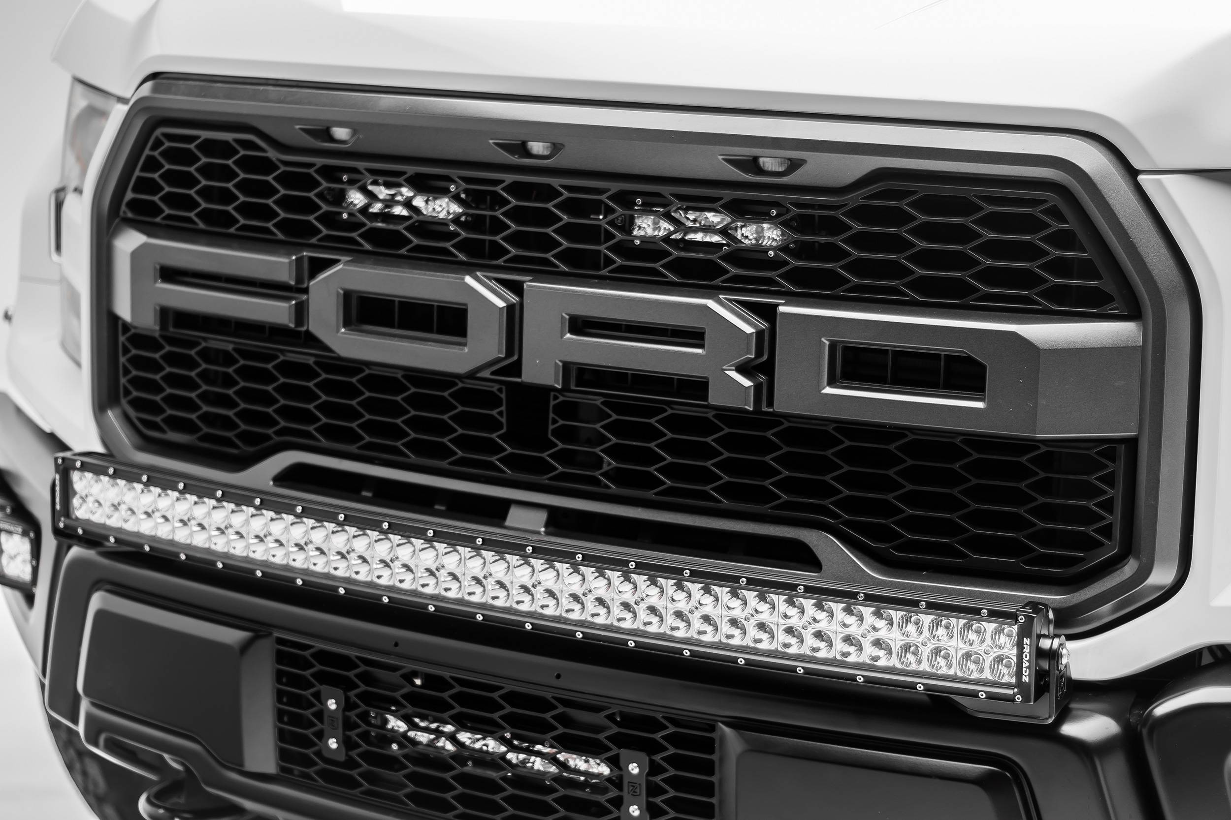 2017-2019 Ford F-150 Raptor OEM Grille LED Kit, Incl. (2) 6 Inch LED Straight Single Row Slim Light Bars - PN #Z415651-KIT