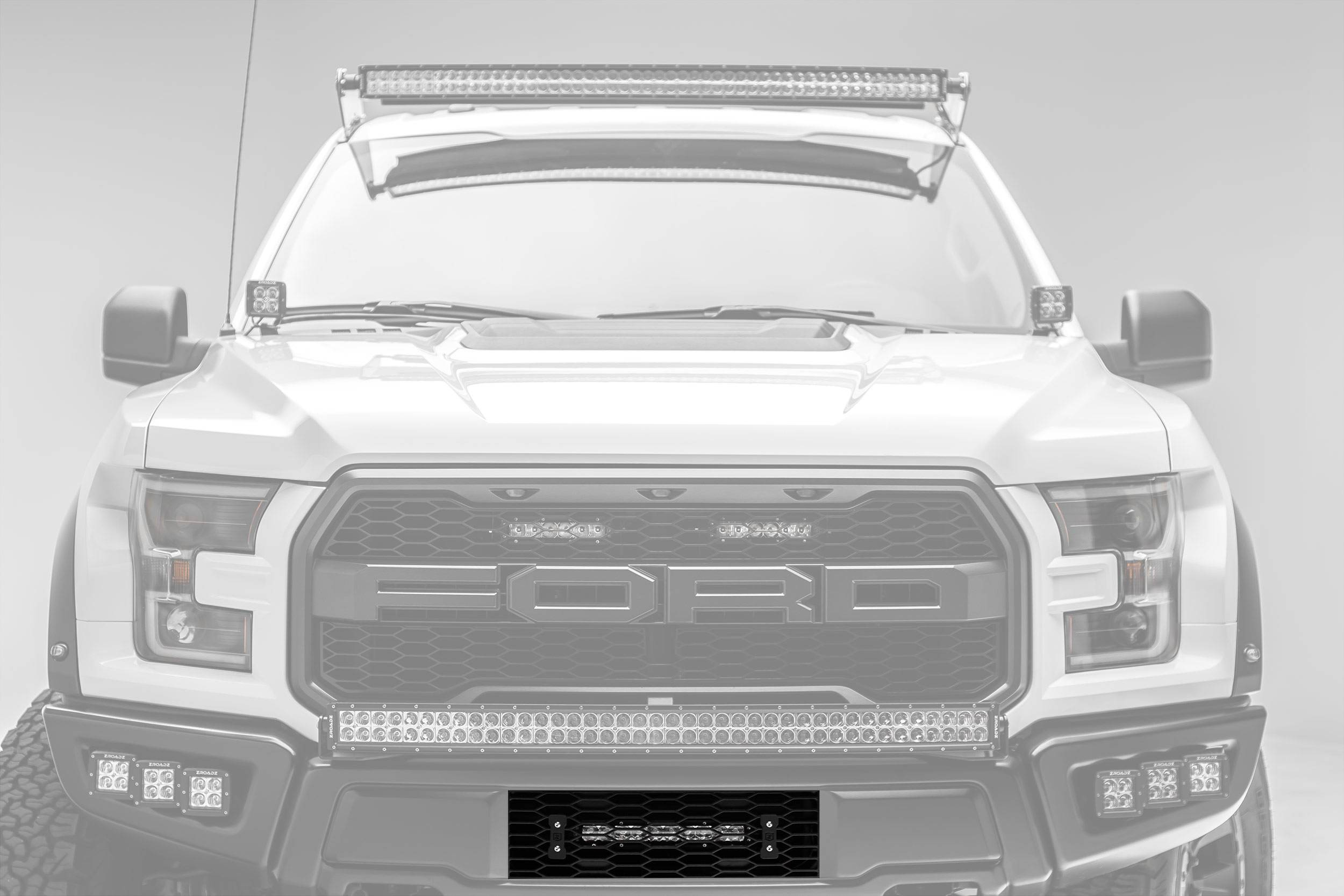 ZROADZ                                             - 2017-2019 Ford F-150 Raptor OEM Bumper Grille LED Kit, Incl. (1) 10 Inch LED Single Row Slim Light Bar - PN #Z415661-KIT