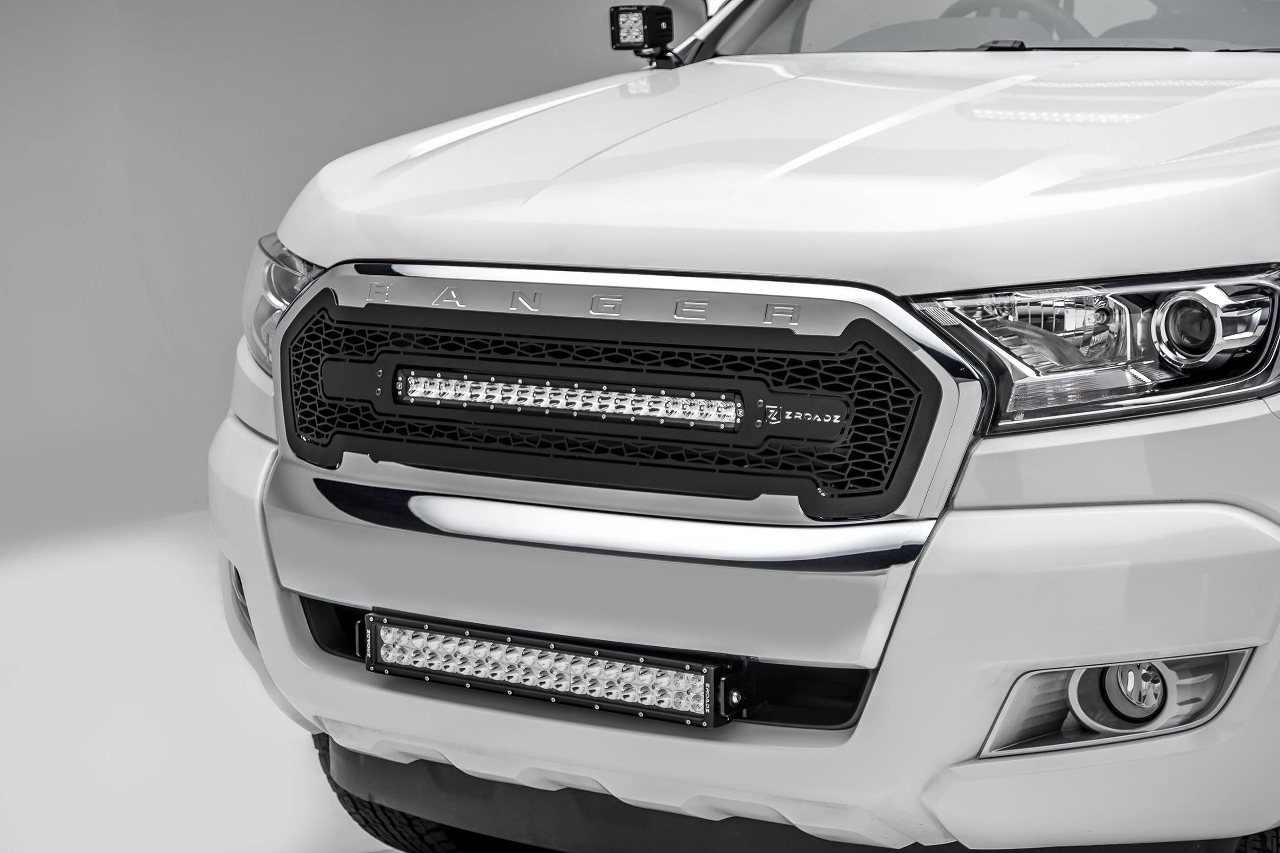 2015-2018 Ford Ranger T6 Front Bumper Center LED Kit, Incl. (1) 20 Inch LED Straight Double Row Light Bar - PN #Z325761-KIT
