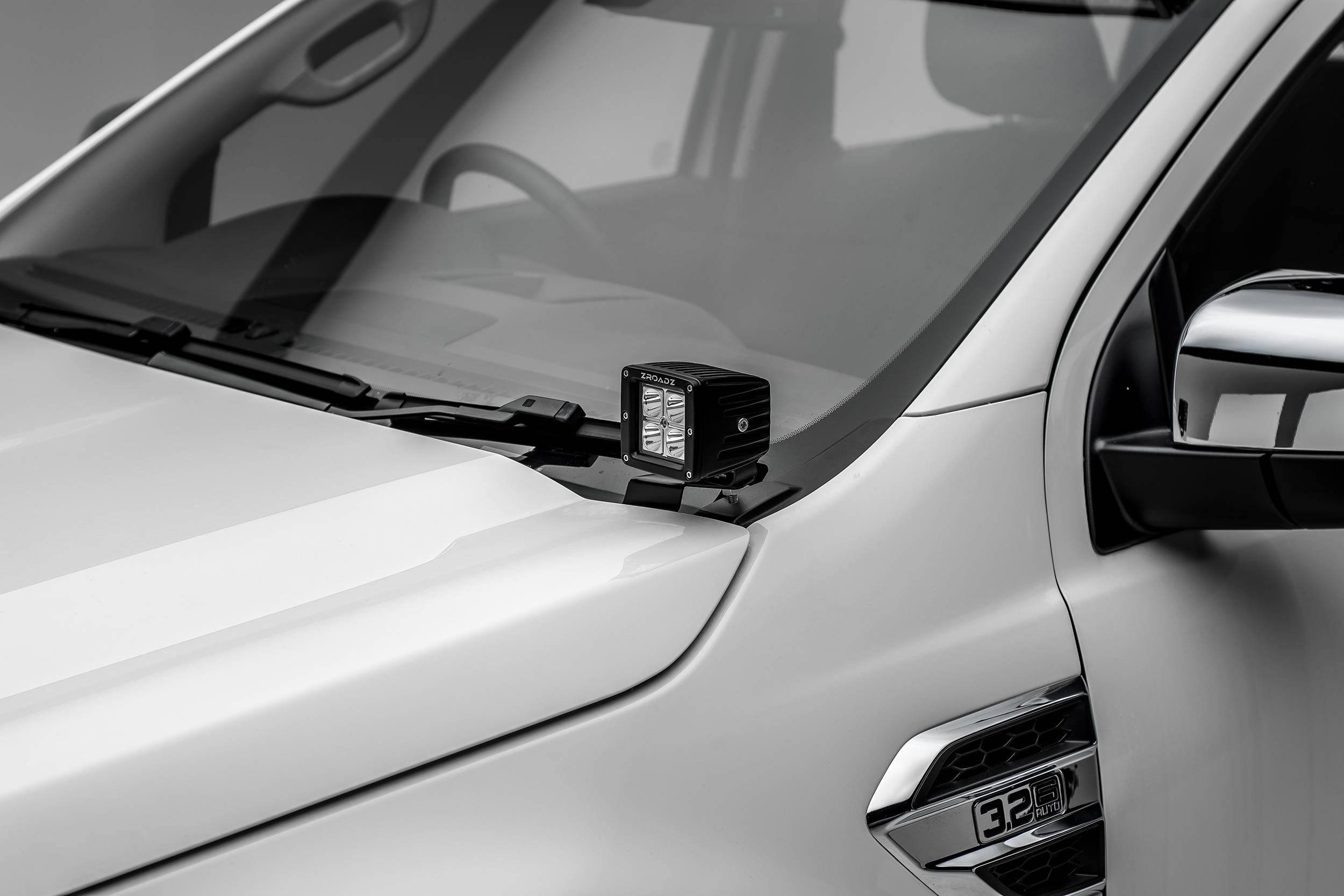 ZROADZ                                             - 2015-2018 Ford Ranger T6 Hood Hinge LED Bracket to mount (2) 3 Inch LED Pod Lights - PN #Z365761