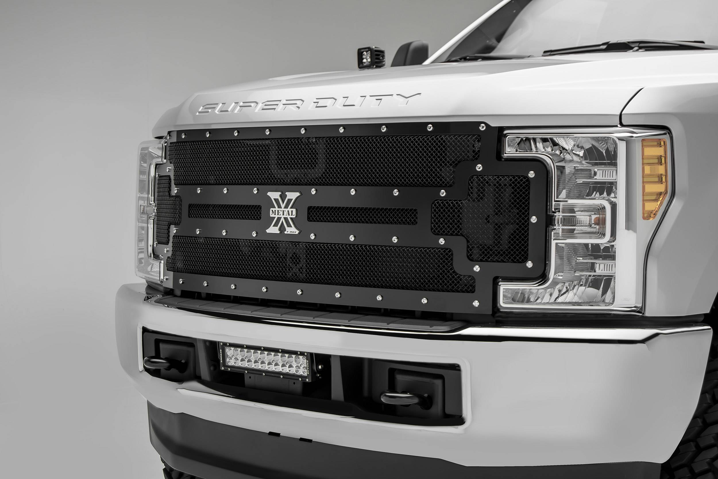 ZROADZ                                             - 2017-2019 Ford Super Duty Front Bumper Center LED Kit with (1) 12 Inch LED Straight Double Row Light Bar - PN #Z325471-KIT