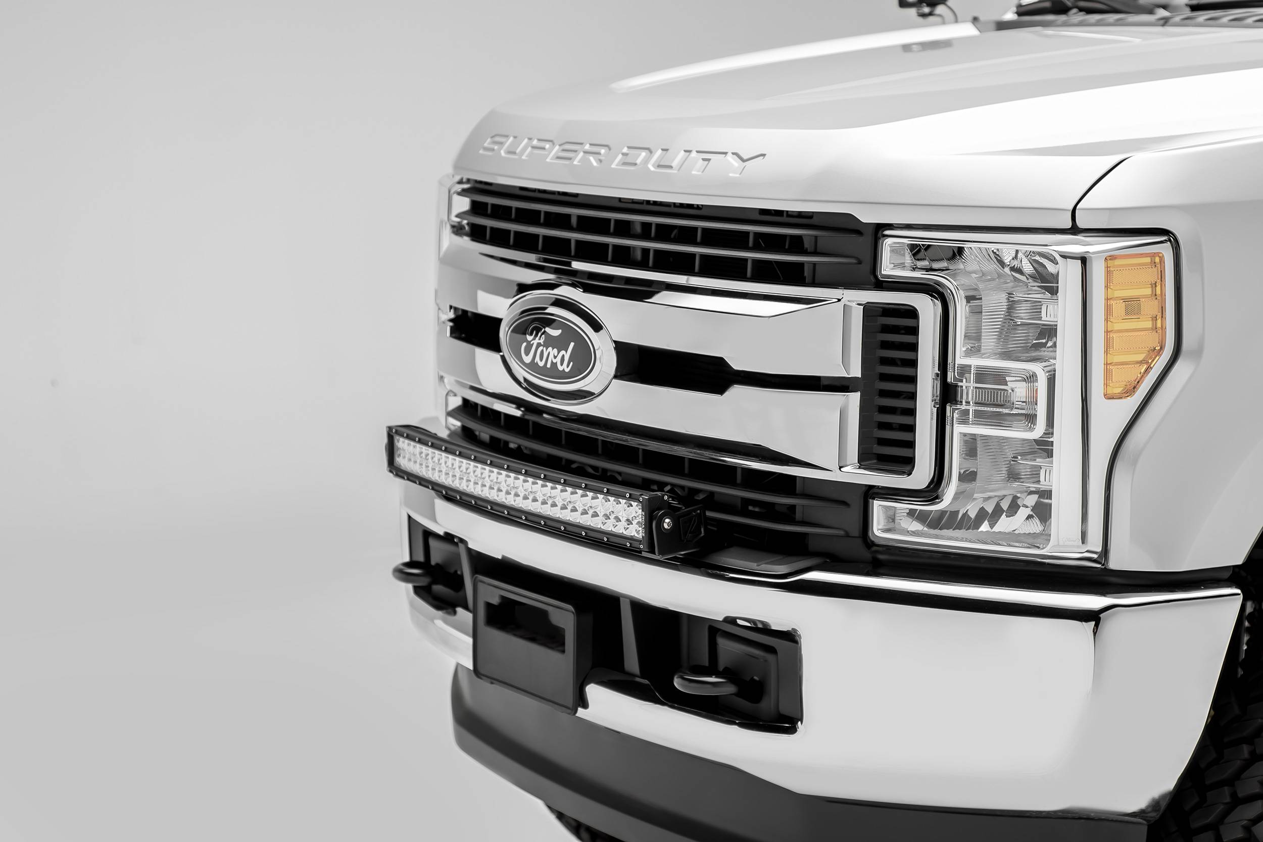 2017-2019 Ford Super Duty Front Bumper Top LED Kit, Incl. (1) 30 Inch LED Curved Double Row Light Bar - PN #Z325472-KIT