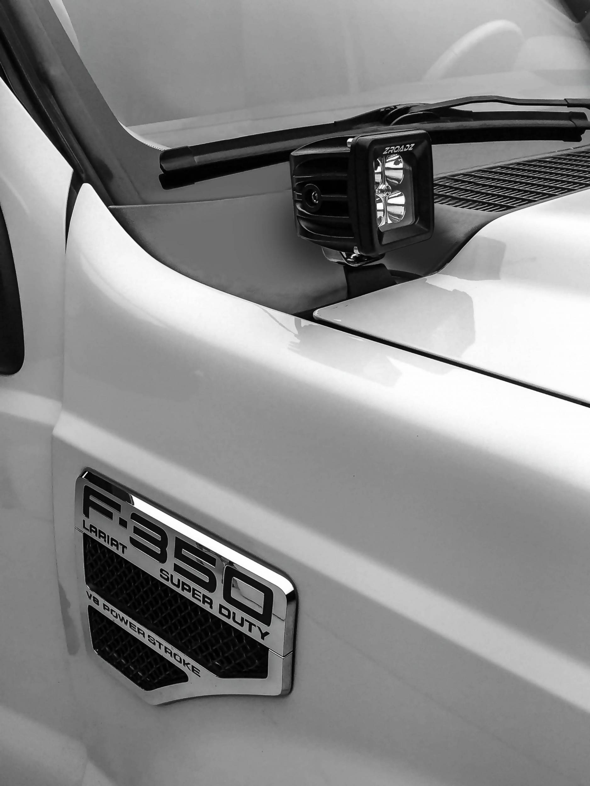 ZROADZ                                             - 2011-2016 Ford Super Duty Hood Hinge LED Bracket to mount (2) 3 Inch LED Pod Lights - PN #Z365461