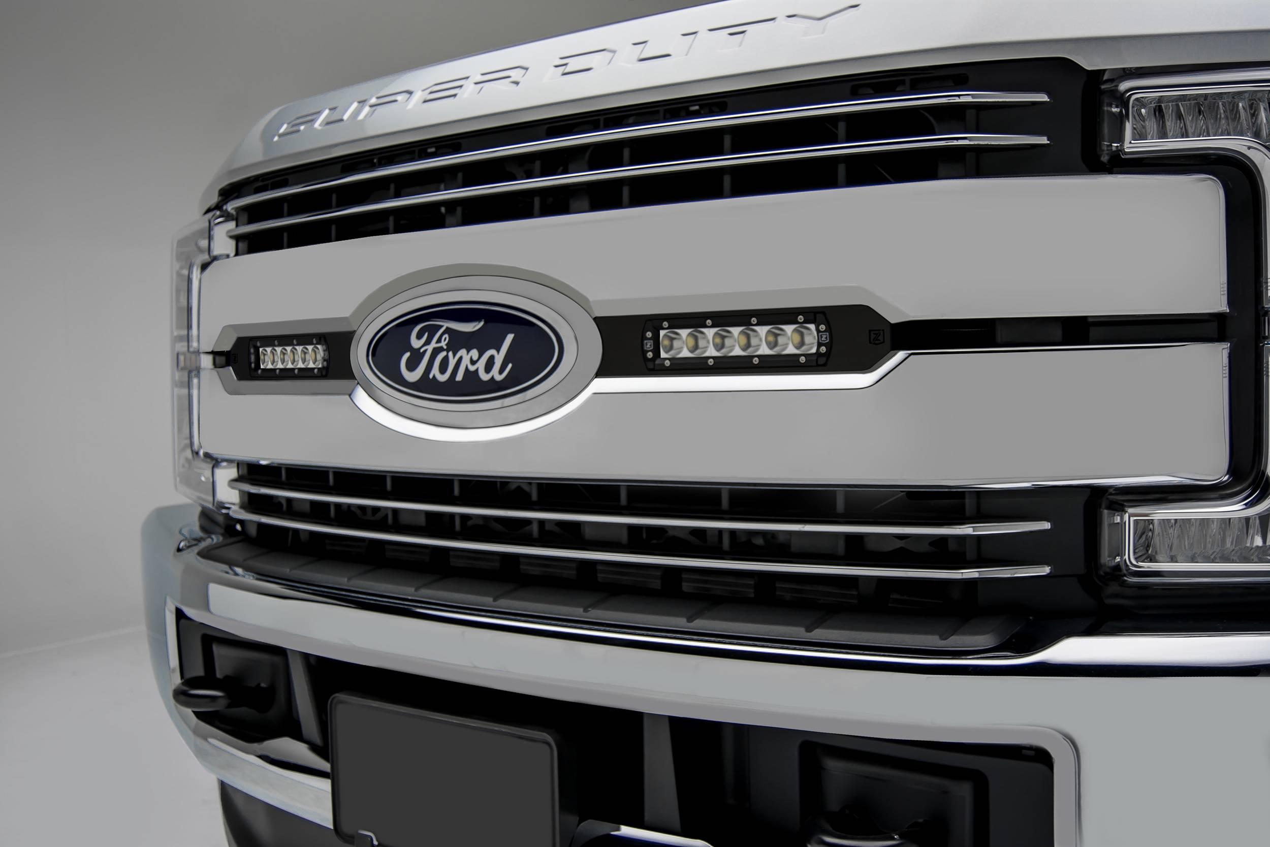ZROADZ                                             - 2017-2019 Ford Super Duty Lariat, King Ranch OEM Grille LED Kit, Incl. (2) 6 Inch LED Straight Single Row Slim Light Bars - PN #Z415471-KIT