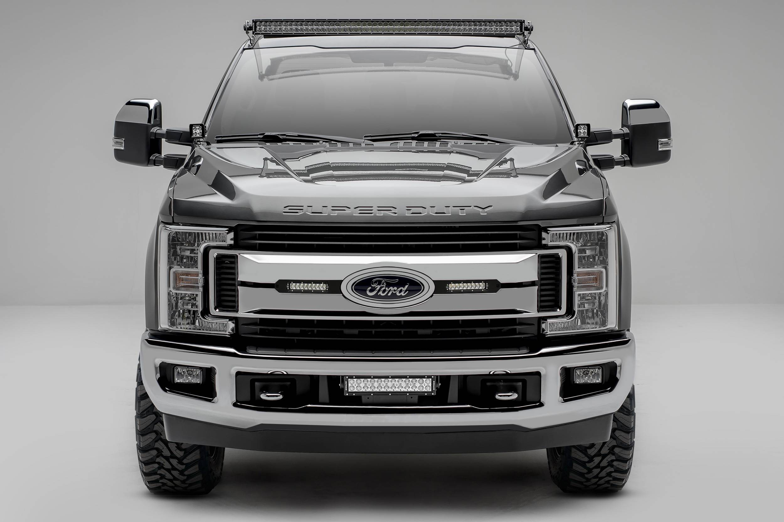 ZROADZ                                             - 2017-2019 Ford Super Duty XLT, XL STX OEM Grille LED Kit, Incl. (2) 6 Inch LED Straight Single Row Slim Light Bars, Black - PN #Z415571-KIT