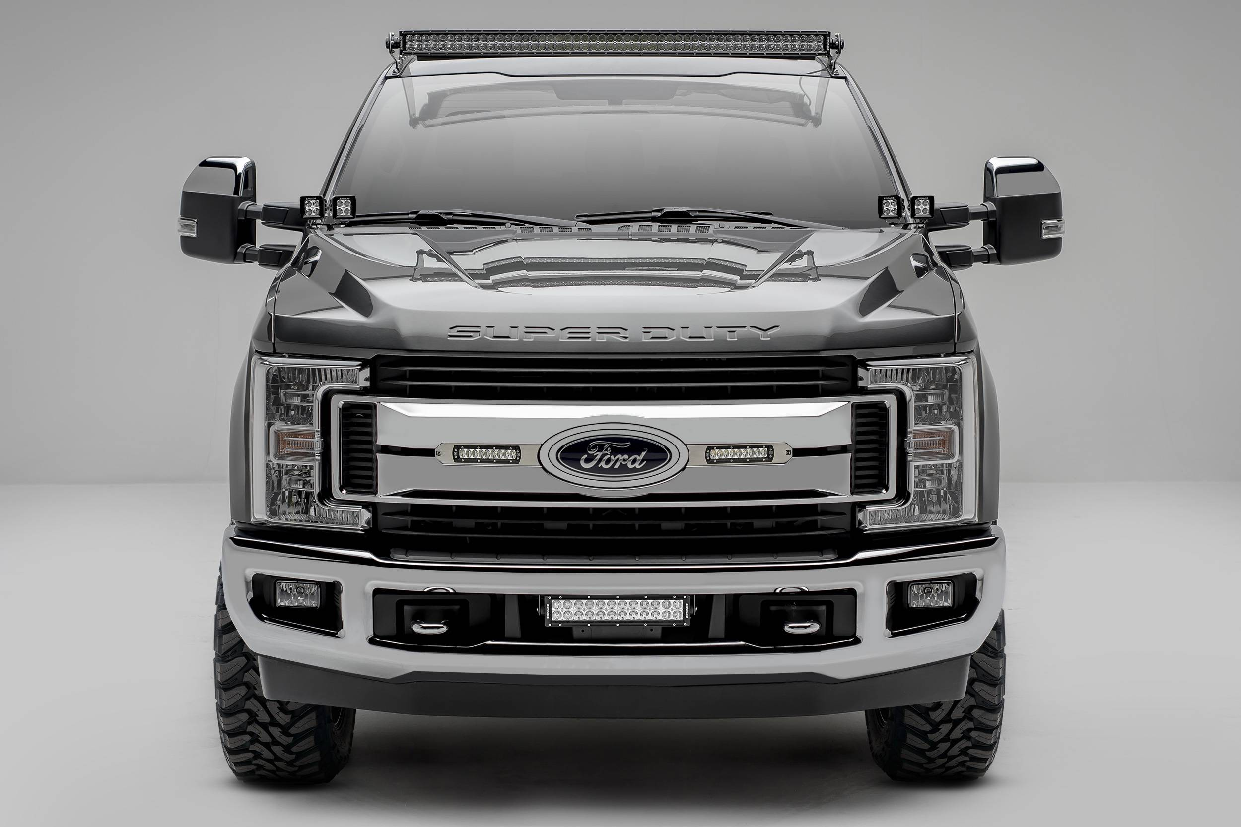2017-2019 Ford Super Duty XLT OEM Grille LED Kit, Incl. (2) 6 Inch LED Straight Single Row Slim Light Bars - PN #Z415573-KIT