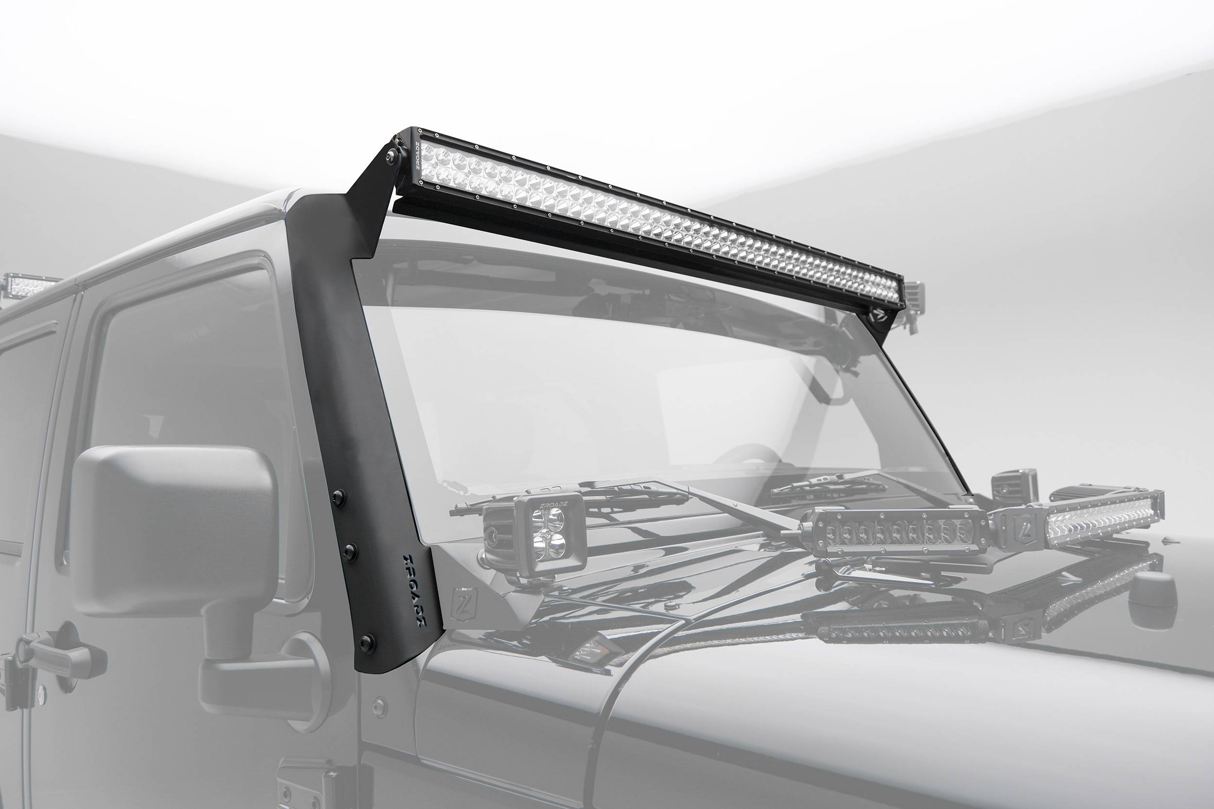 ZROADZ                                             - 2007-2018 Jeep JK Front Roof LED Kit with (1) 50 Inch LED Straight Double Row Light Bar - PN #Z374811-KIT-S