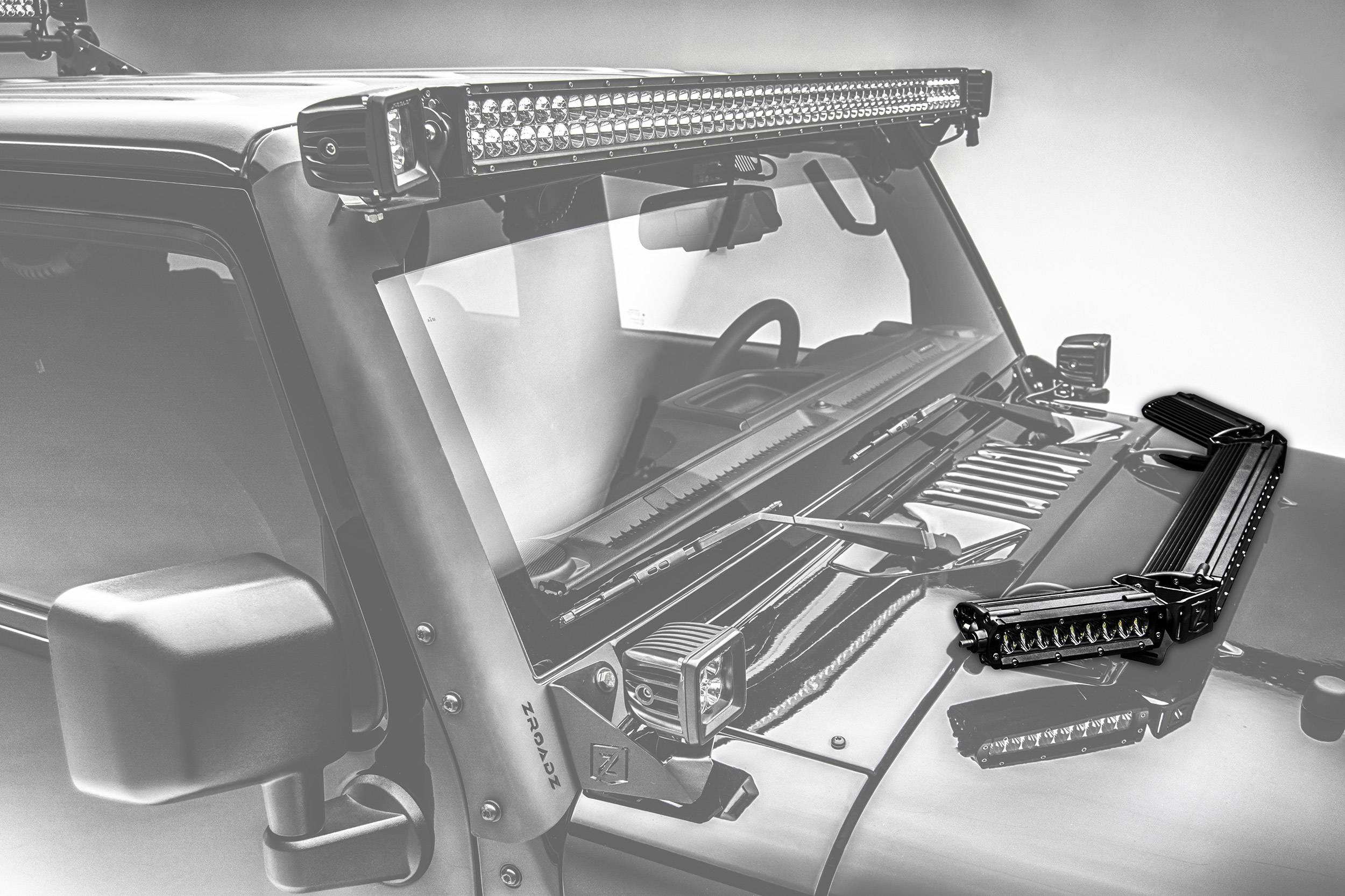 ZROADZ                                             - 2007-2018 Jeep JK Hood Hinge LED Kit, Incl. (1) 20 Inch and (2) 6 Inch LED Single Row Slim Light Bars - PN #Z344813-KIT