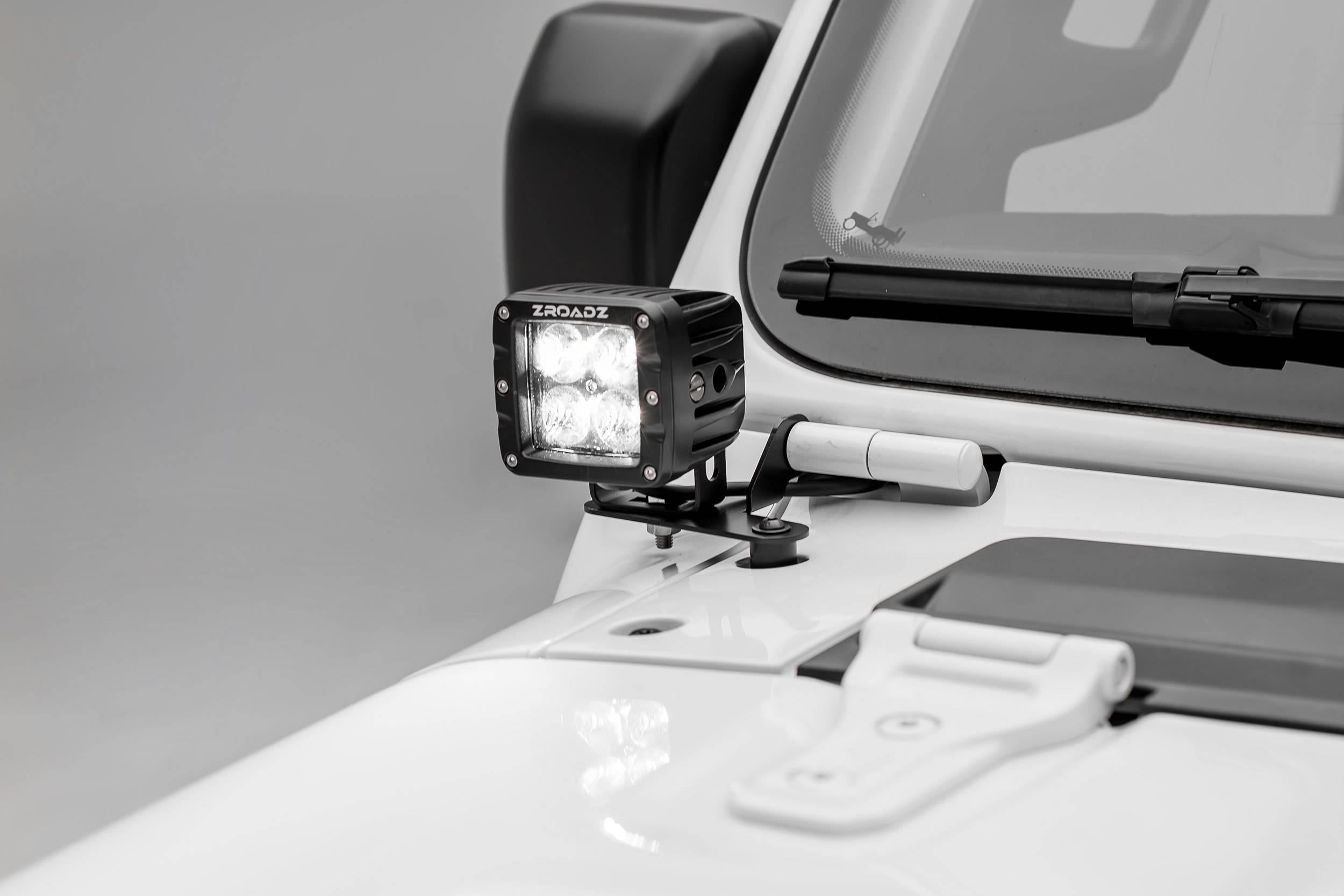 ZROADZ OFF ROAD PRODUCTS - Jeep JL, Gladiator Lower A Pillar LED Bracket to mount (2) 3 Inch LED Pod Lights - PN #Z364941